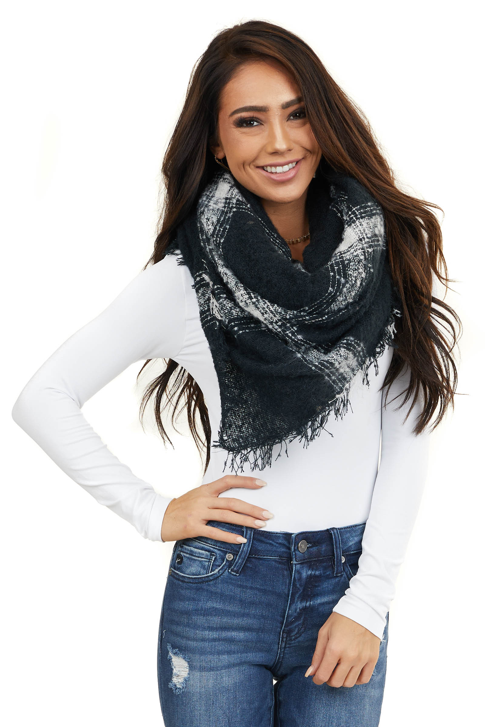 Black and White Plaid Print Blanket Scarf with Fringe