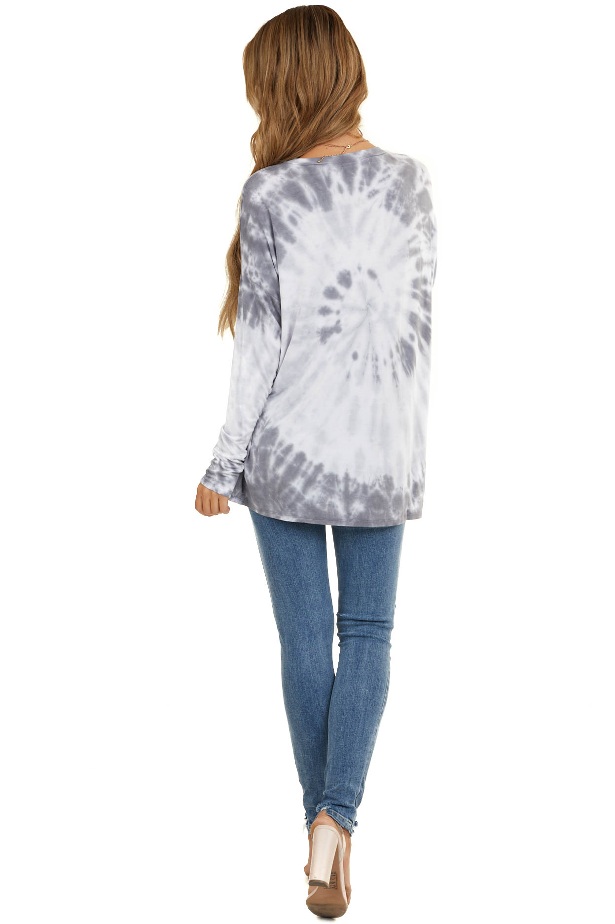 Charcoal Tie Dye Soft Knit Top with Long Sleeves