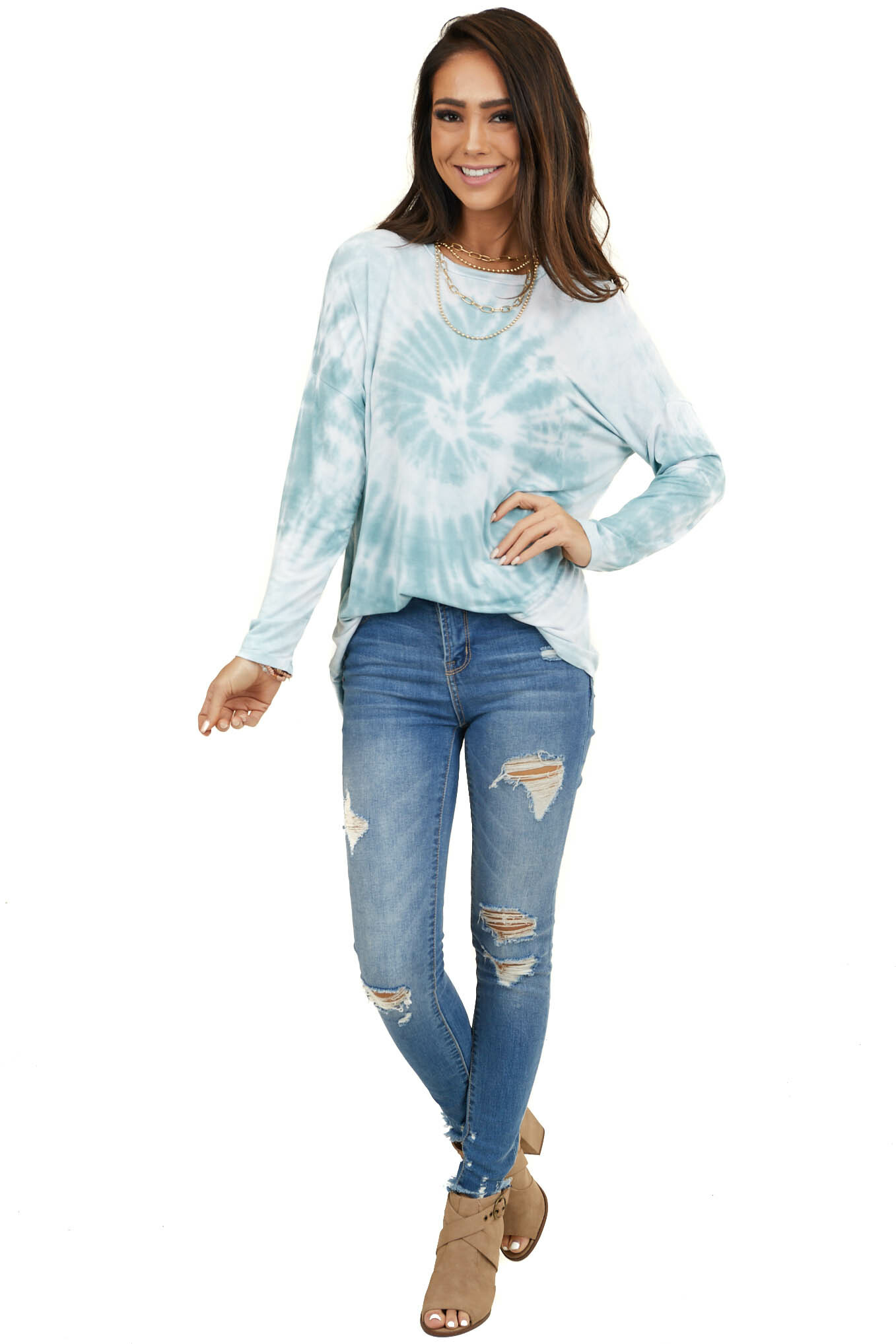 Dusty Mint Tie Dye Soft Knit Top with Long Sleeves