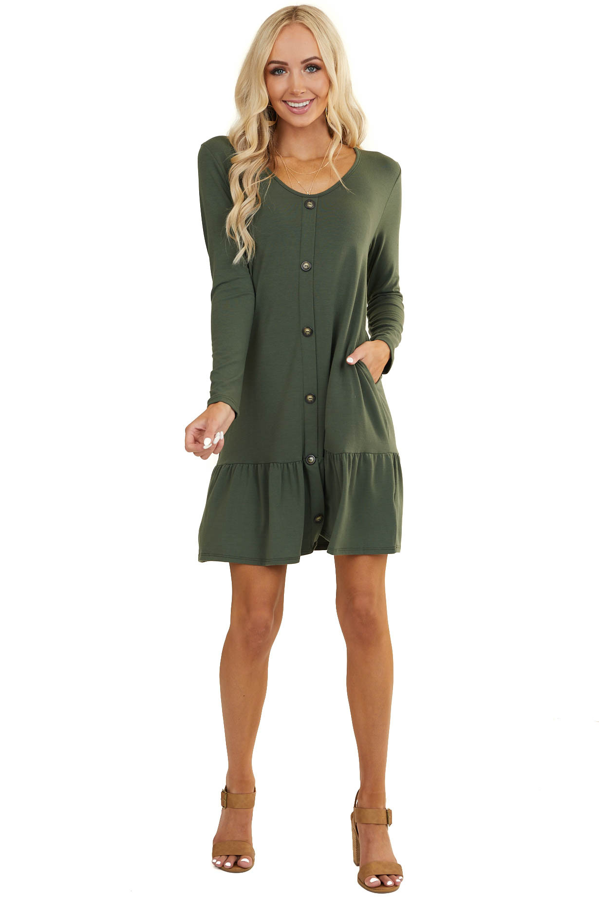 Forest Green Ruffle Hem Dress with Buttons and Pockets