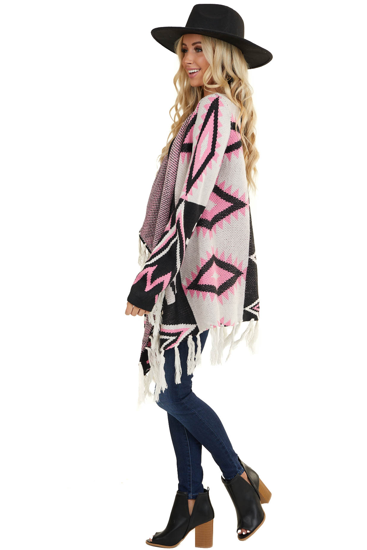 Pink Aztec Open Front Long Sleeve Knit Cardigan with Tassels
