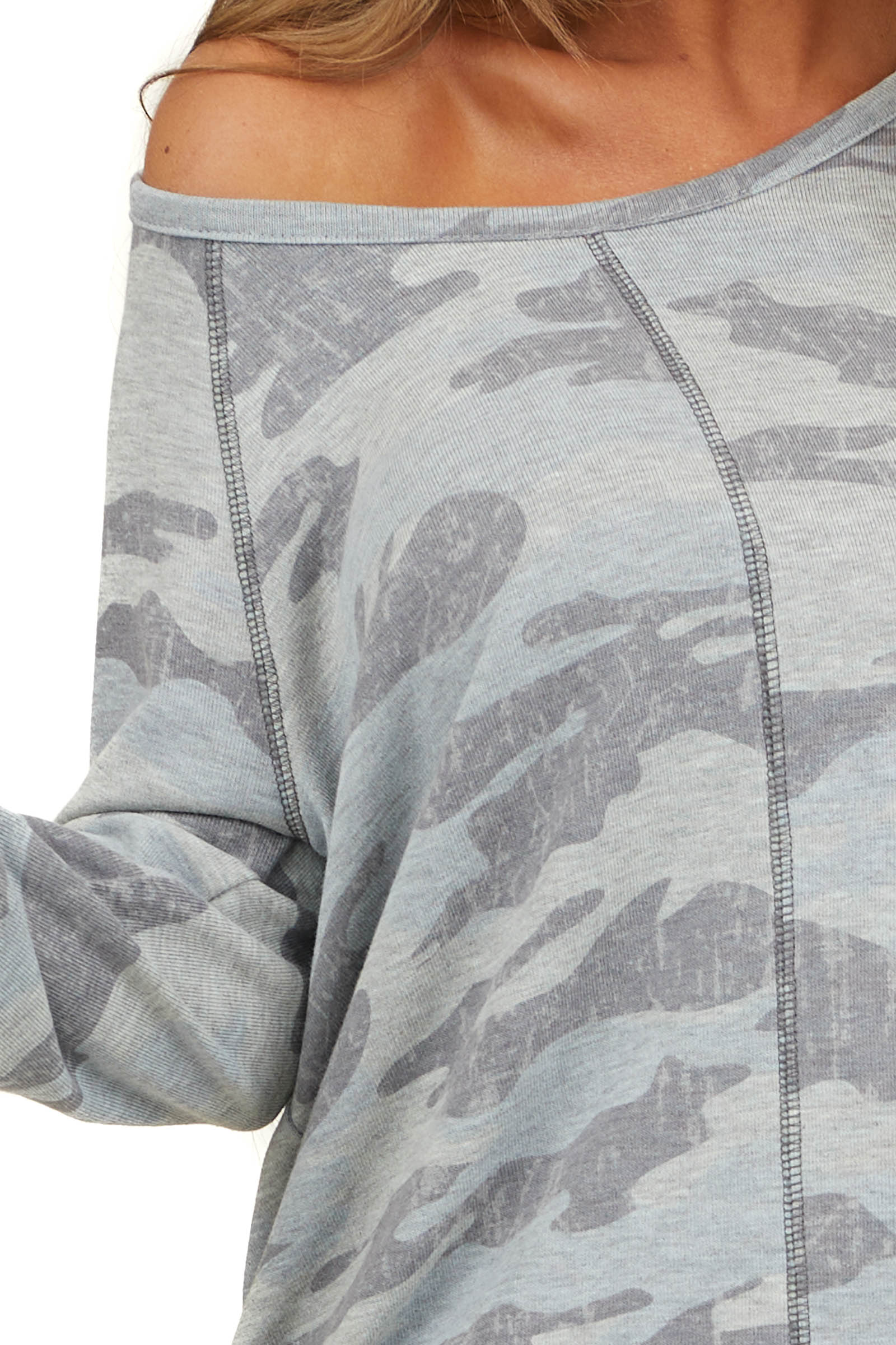 Heather Grey Camo Long Sleeve Top with Exposed Stitching