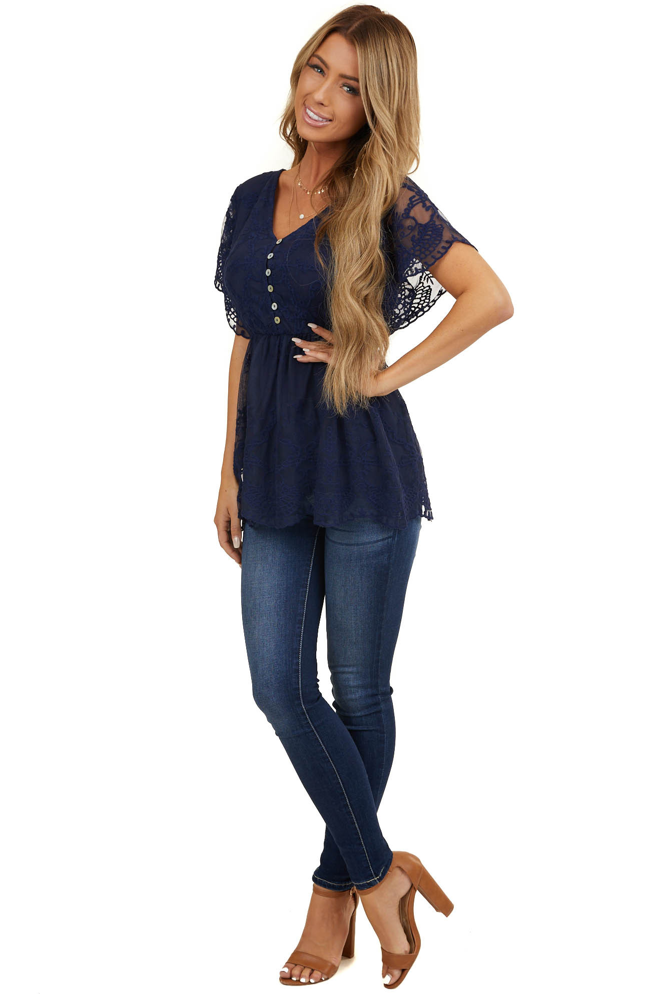 Navy Embroidered Drop Waist Top with Flutter Sleeves