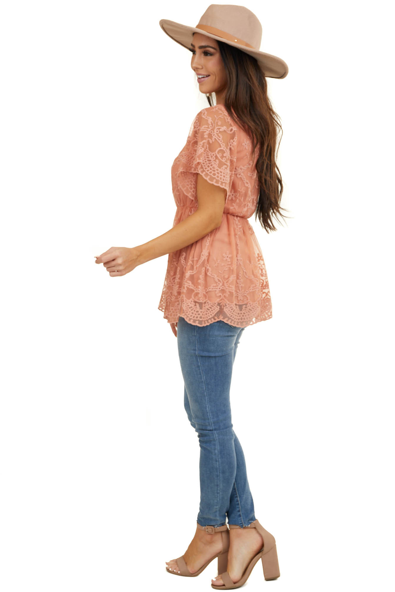 Salmon Embroidered Drop Waist Top with Flutter Sleeves