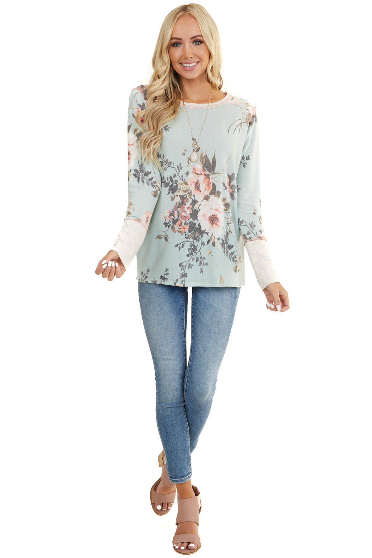 Sky Blue Floral Print Long Sleeve Top with Cream Contrast
