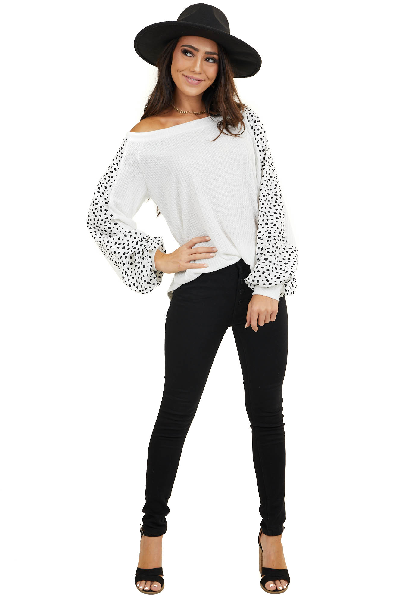 Off White Waffle Knit Top with Cheetah Print Sleeves