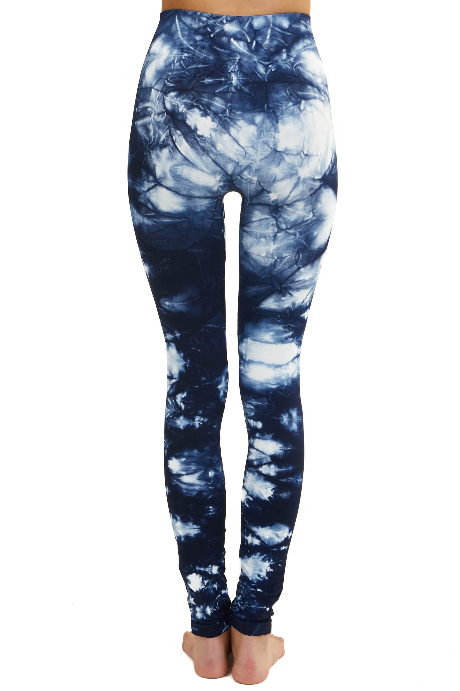 Navy Blue and White Tie Dye High Waisted Leggings