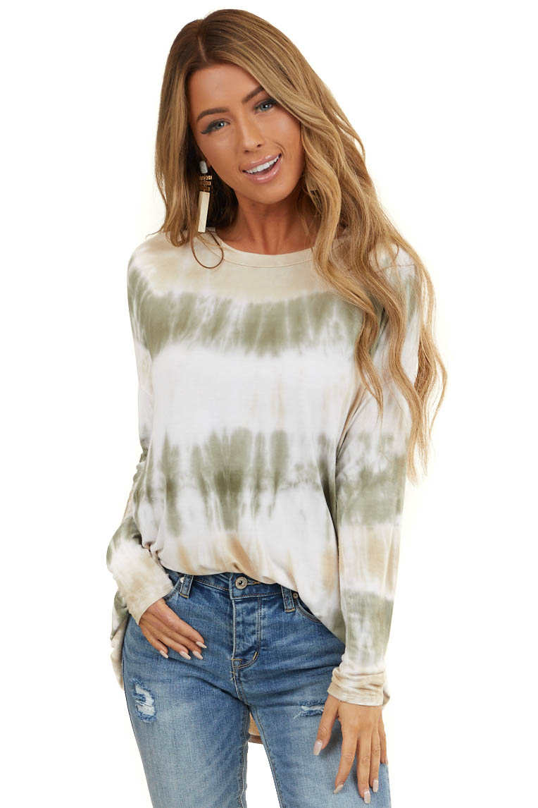 Sage and Oatmeal Tie Dye Soft Knit Top with Long Sleeves