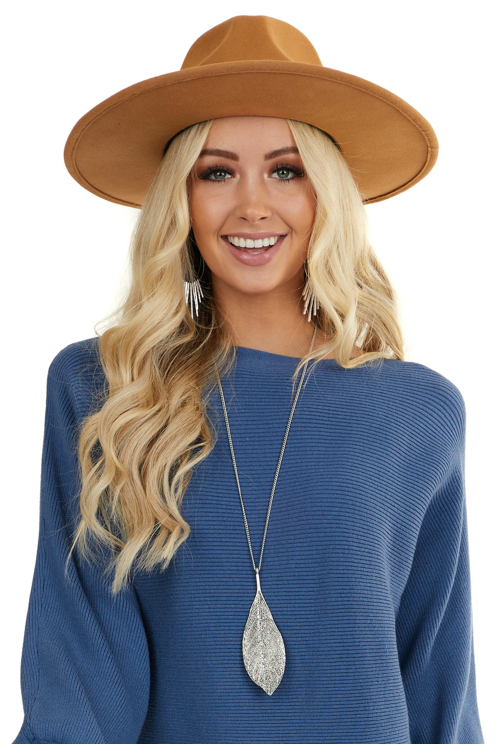 Camel Wide Brim Wool Hat with Faux Snakeskin Trim Detail