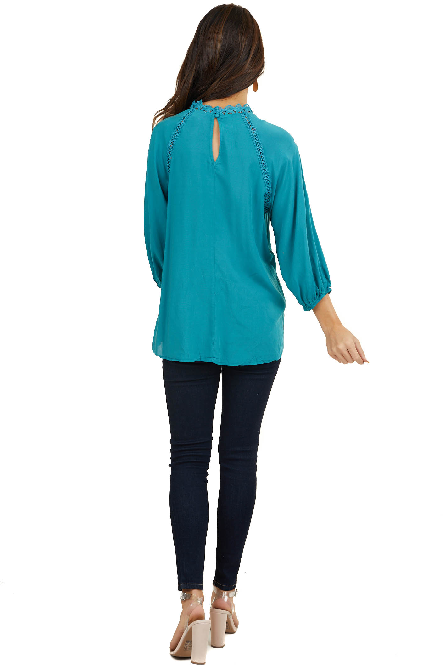 Dark Teal Woven Top with Crochet Detail and Keyhole Back