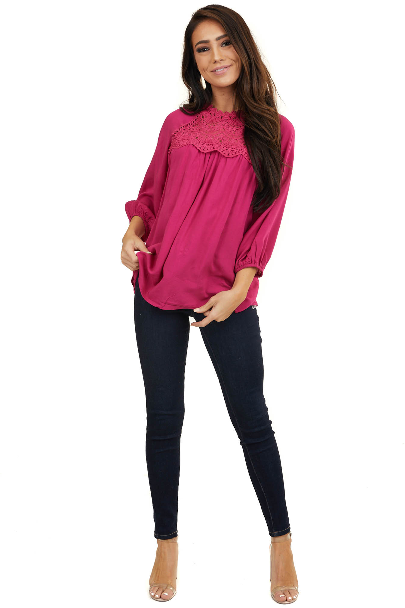 Magenta Woven Top with Crochet Detail and Keyhole Back