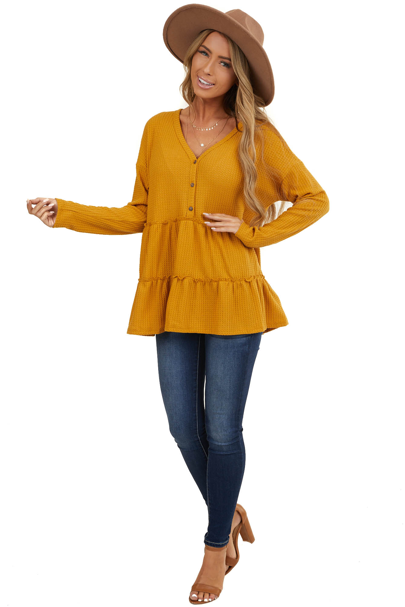 Mustard Waffle Knit Tiered Peplum Top with Henley V Neck