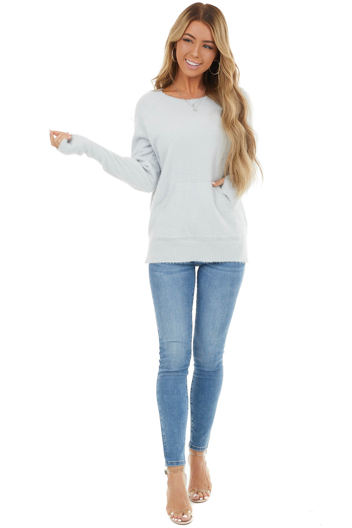 Dove Grey Fuzzy Knit Sweater with Kangaroo Pocket Detail