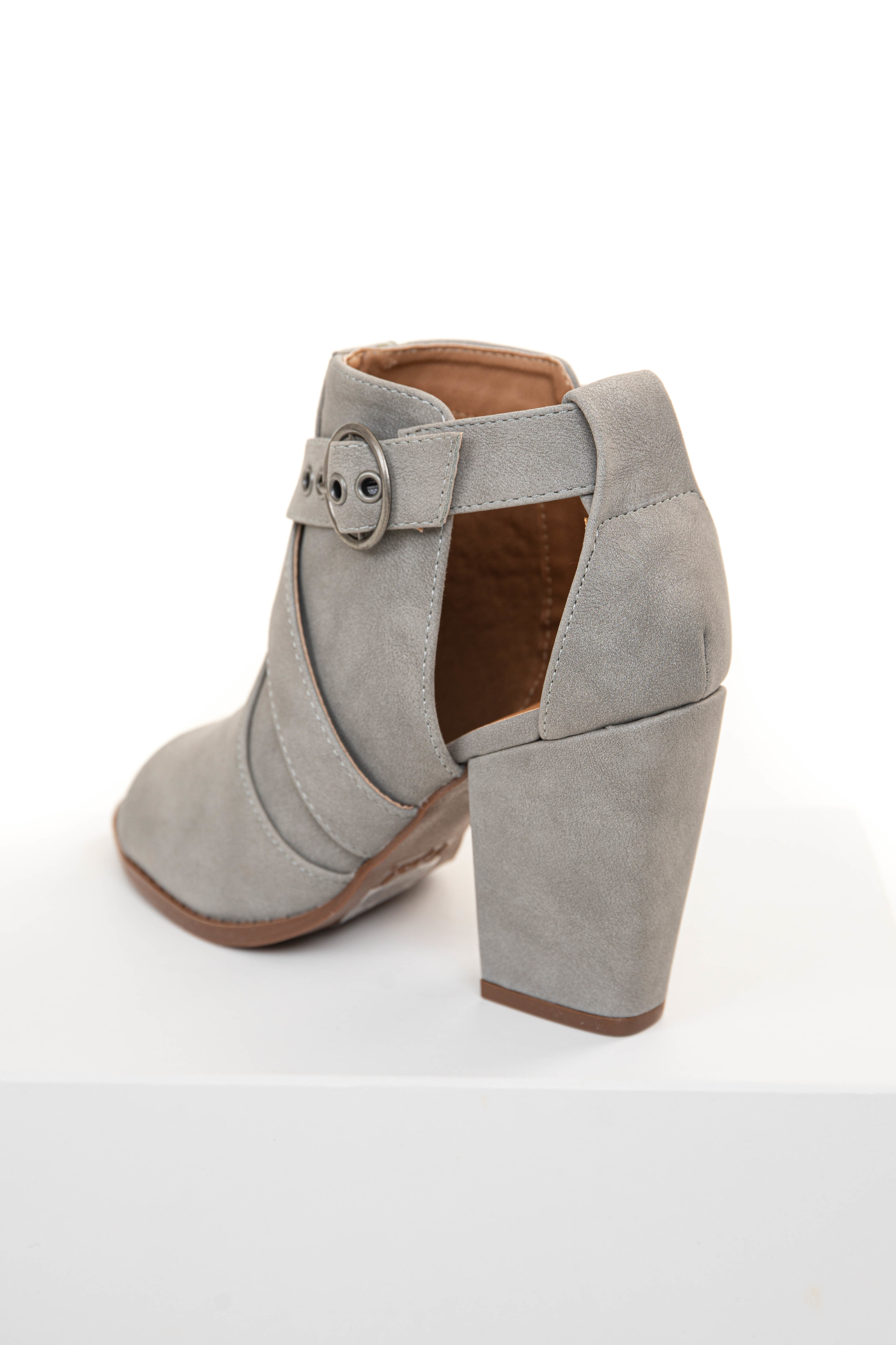 Dove Grey Faux Suede Open Toed Heels with Side Buckle Strap