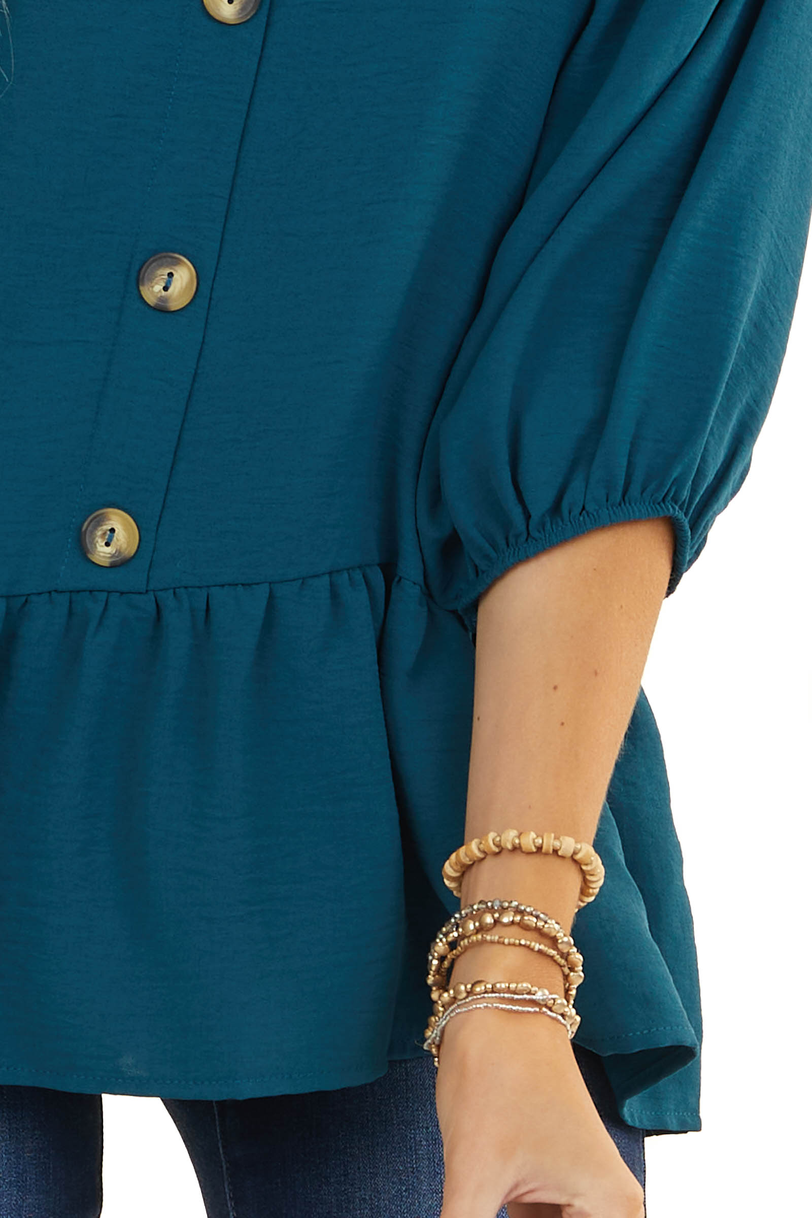 Deep Teal Square Neck Peplum Top with 3/4 Puff Sleeves