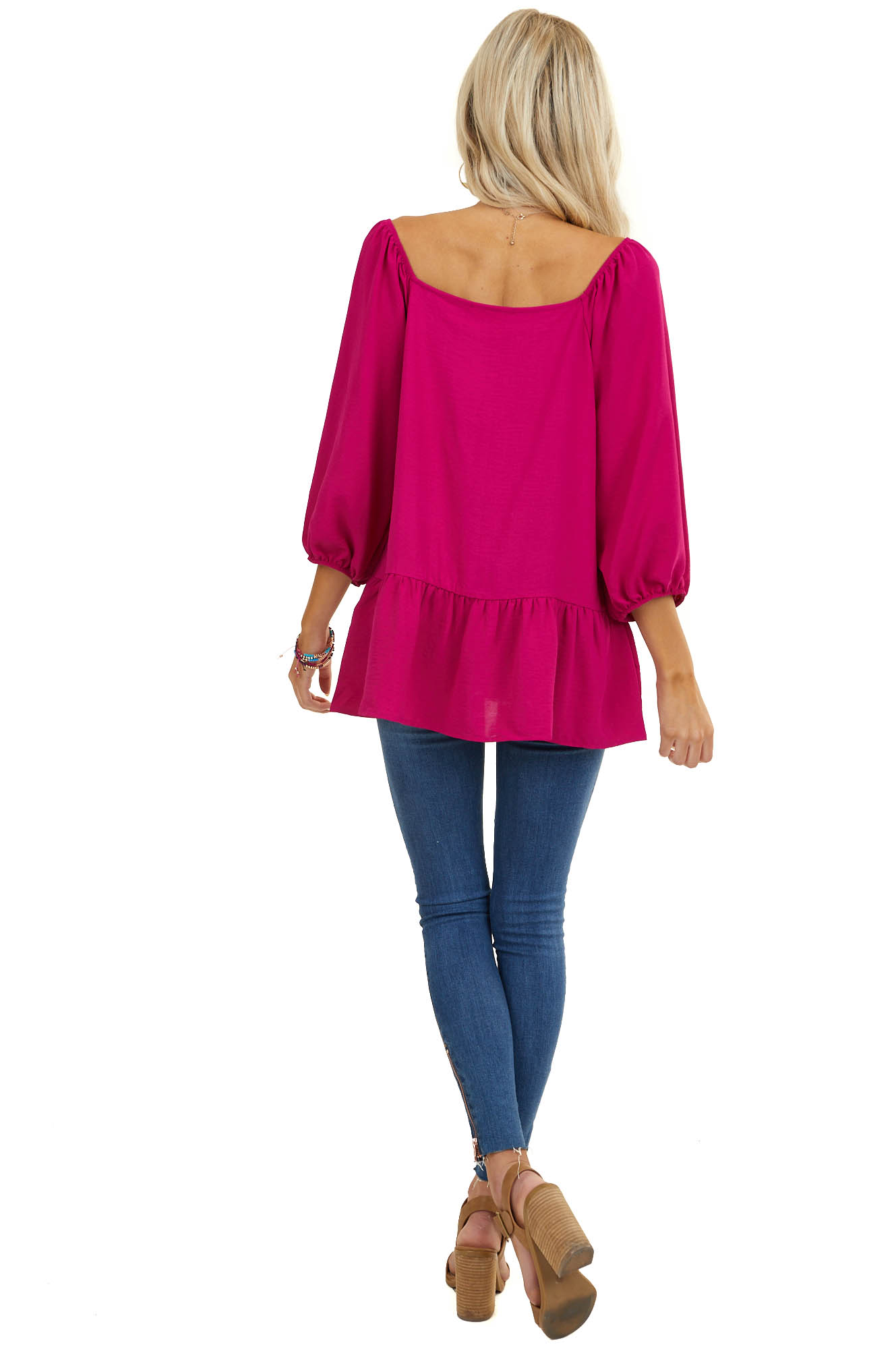 Magenta Square Neck Peplum Top with 3/4 Puff Sleeves
