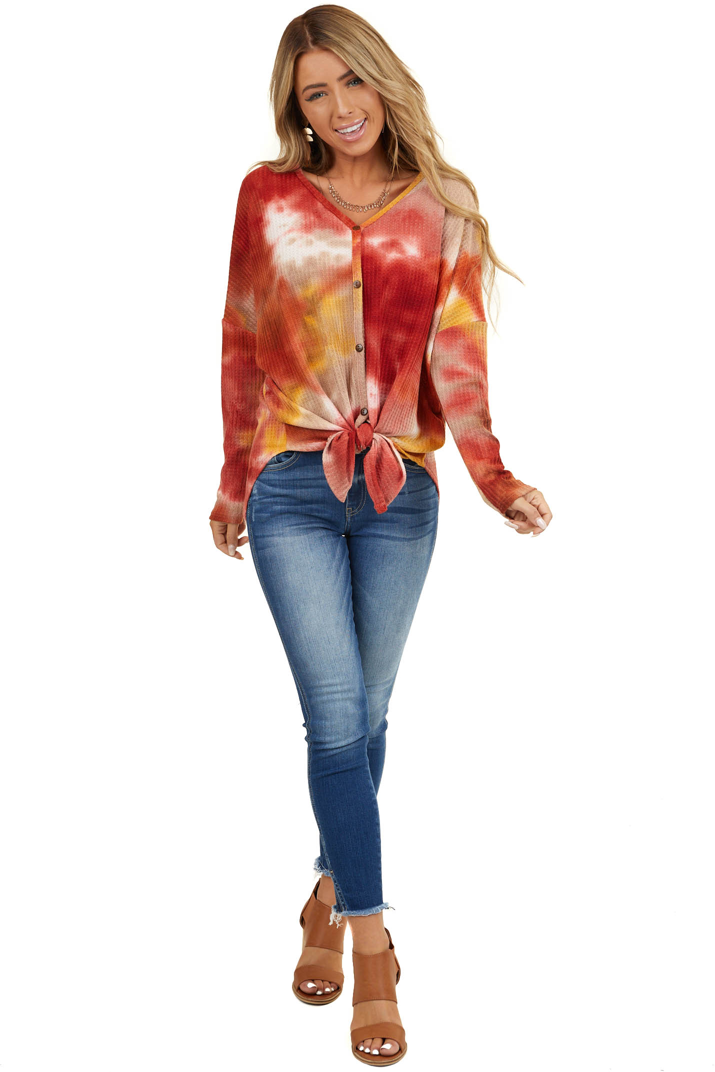Red Tie Dye Button Down Waffle Knit Top with Front Tie