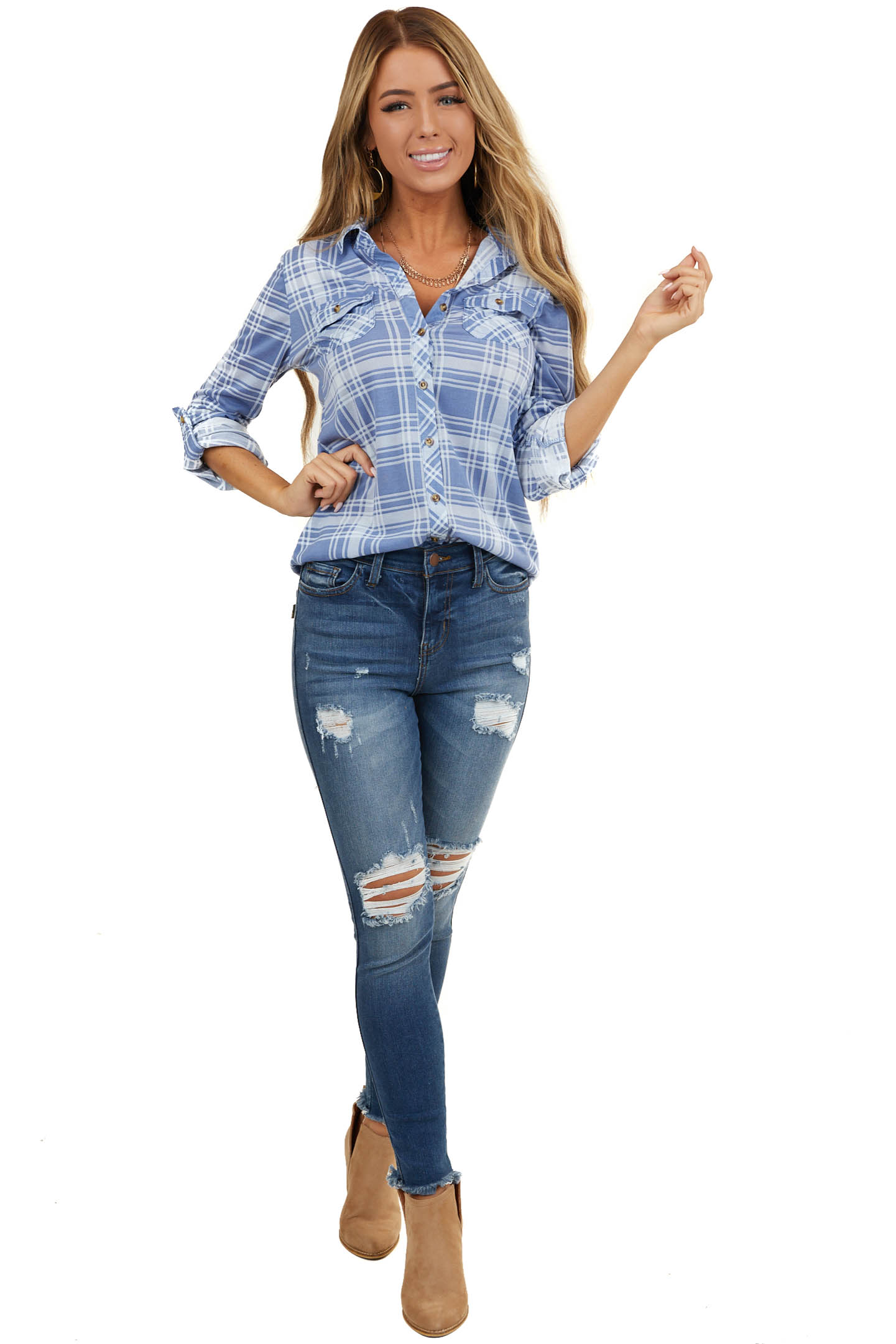 Cornflower Plaid Button Up Top with Chest Pockets