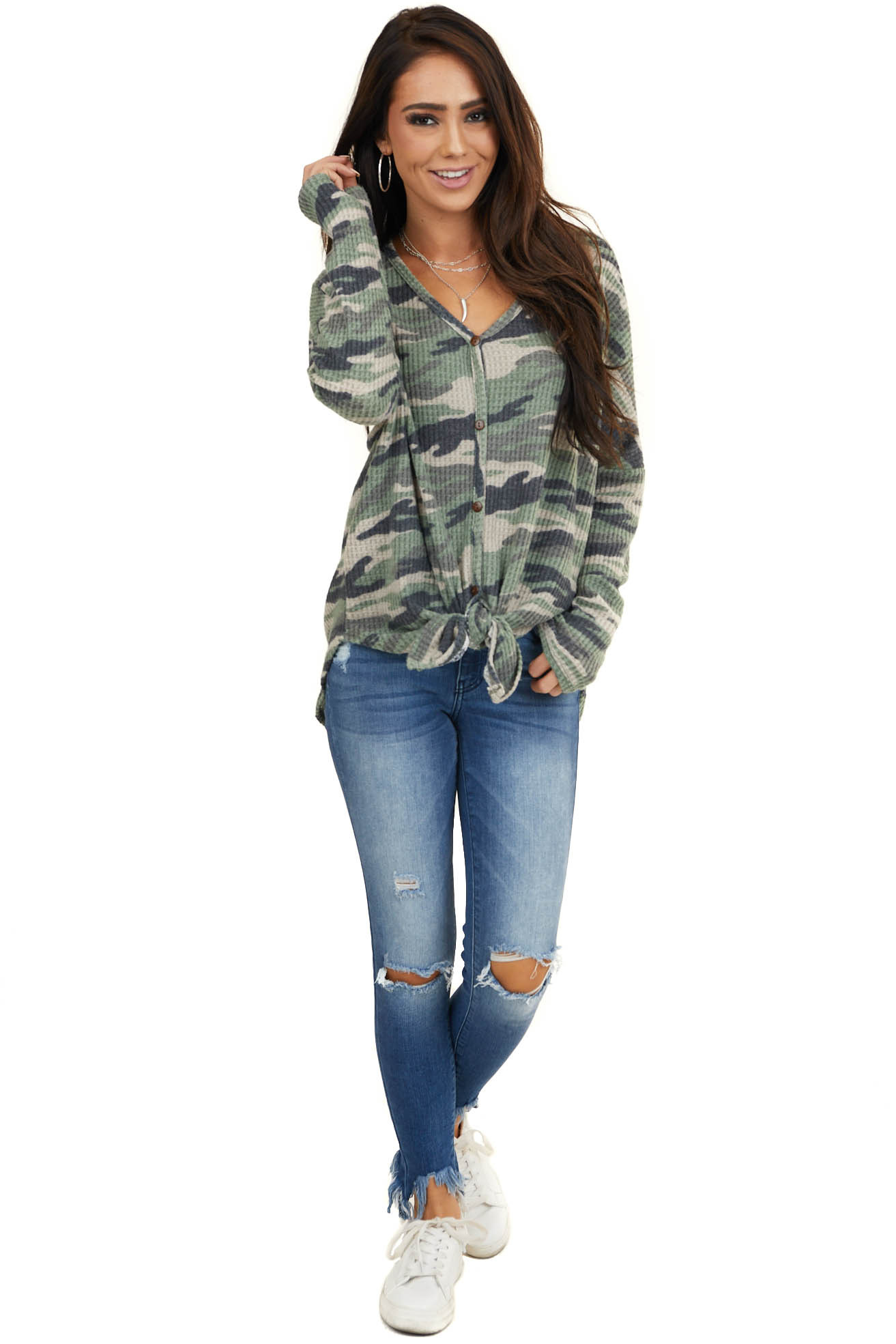 Bright Sage Camo Button Down Waffle Knit Top with Front Tie