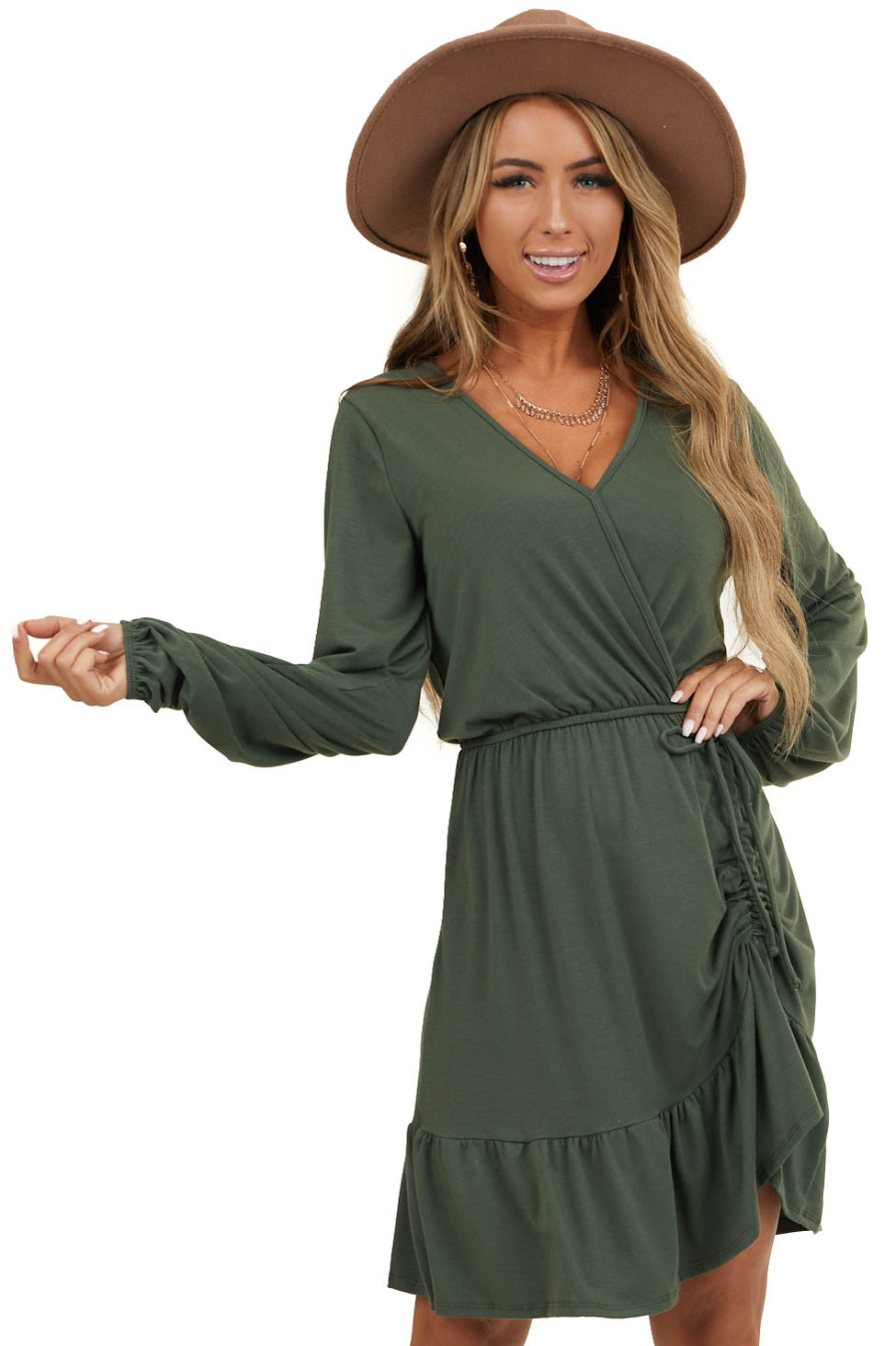 Olive Wrap Ruffle Hem Dress with Ruched Drawstring Detail