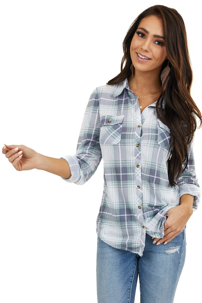 Slate and Sage Plaid Button Up Top with Chest Pockets
