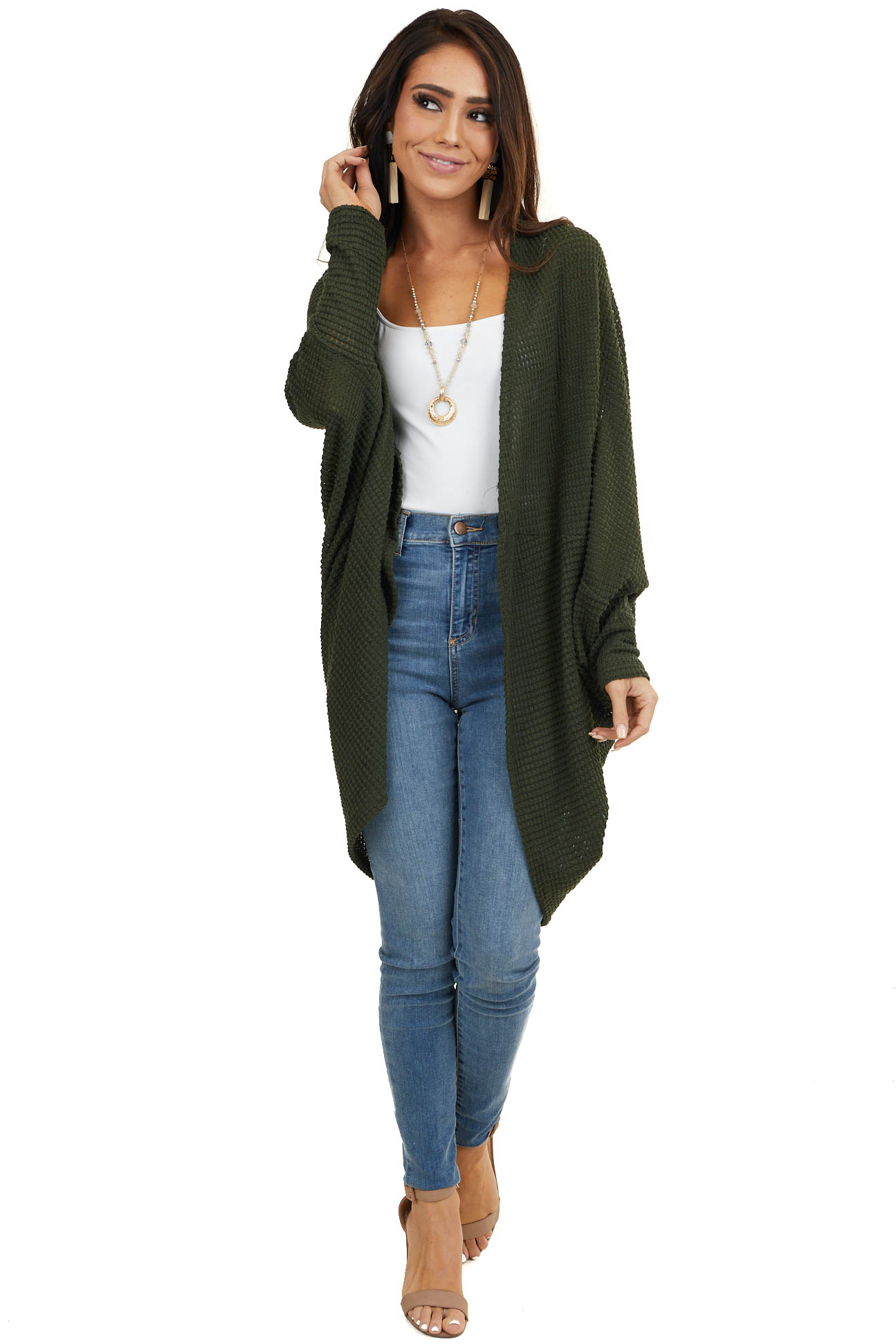 Hunter Green Waffle Knit 3/4 Sleeve Cardigan with Cocoon Hem