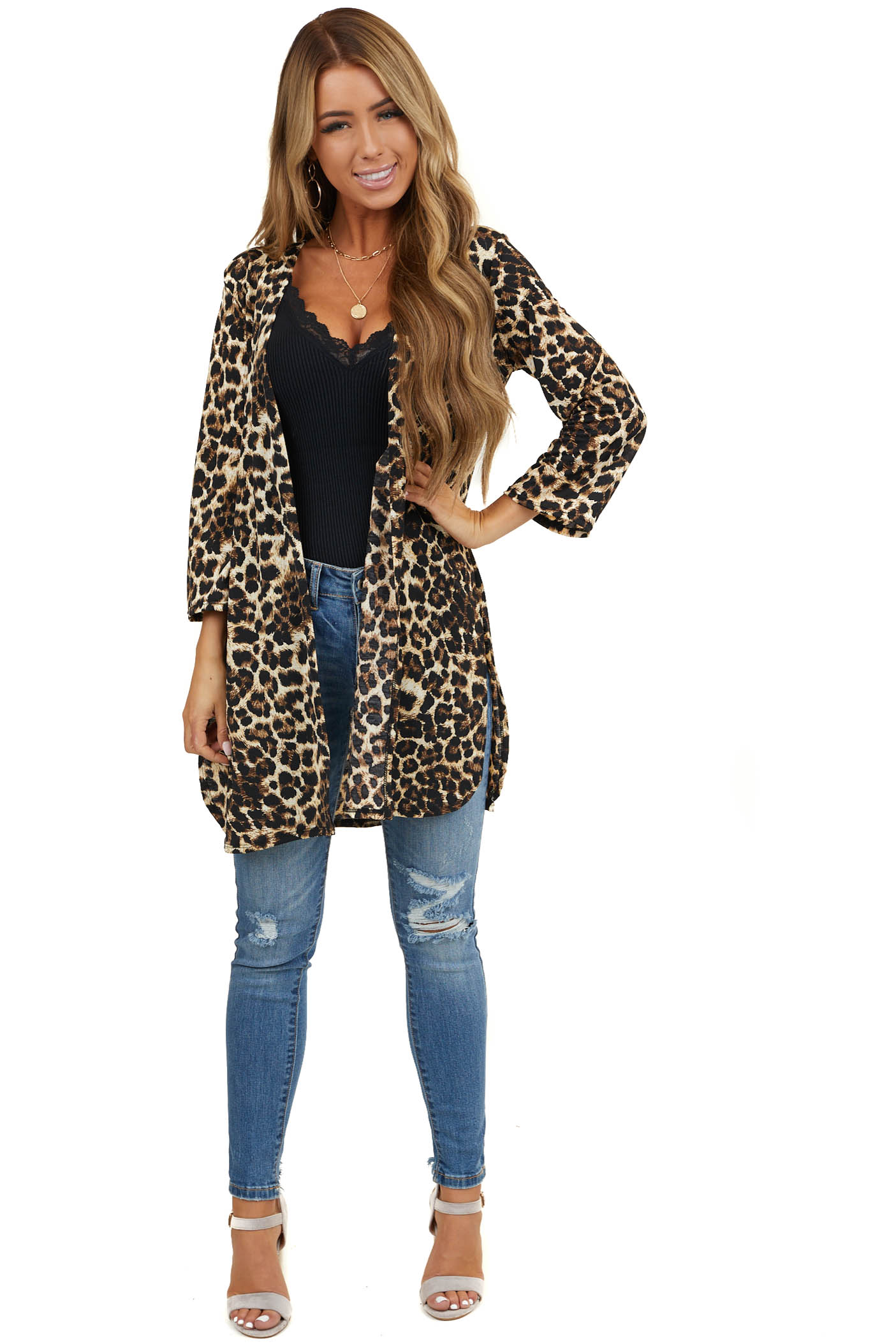 Cocoa Leopard Print 3/4 Sleeve Open Cardigan with Side Slits