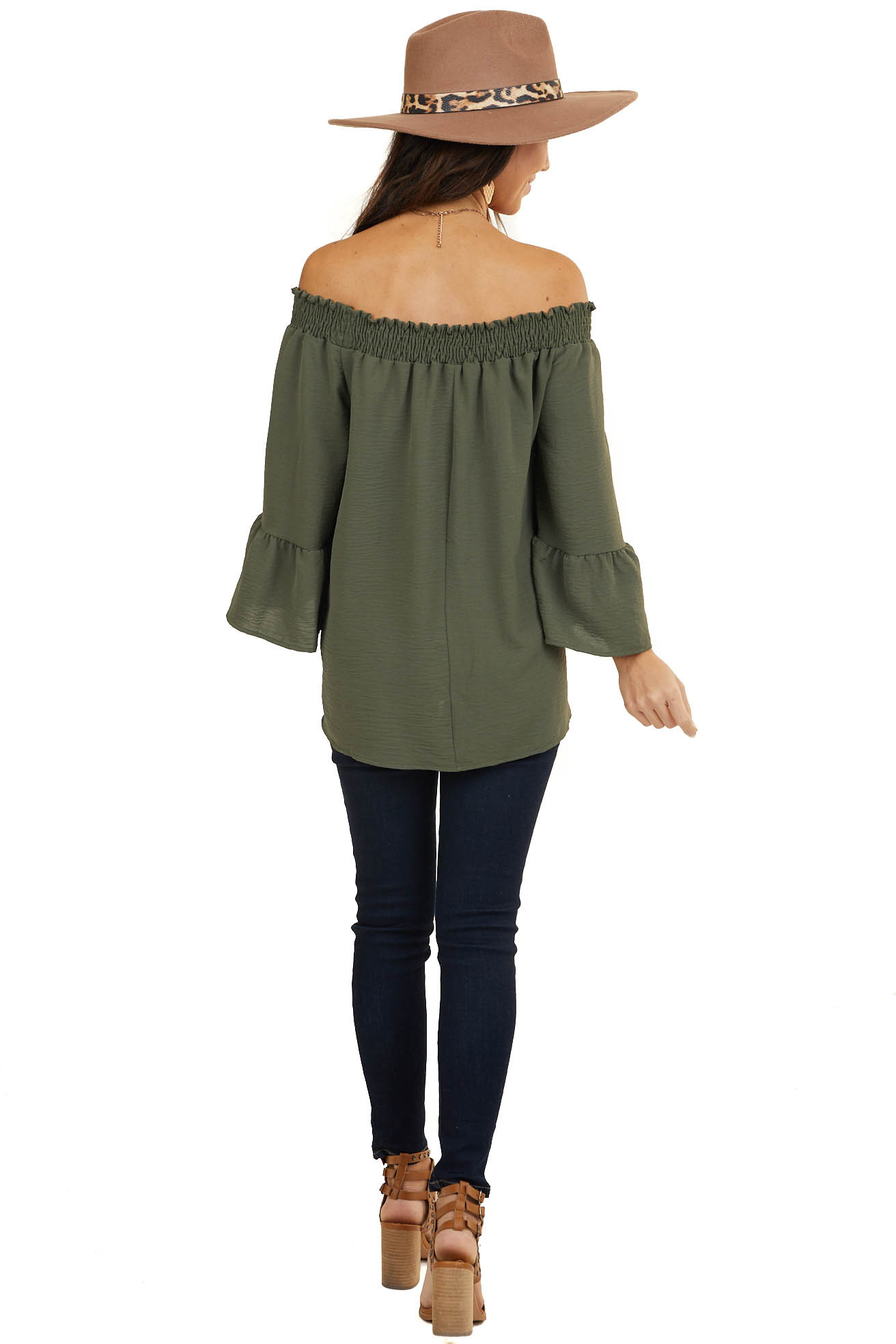 Hunter Green Smocked Off Shoulder Top with Ruffle Sleeve Hem