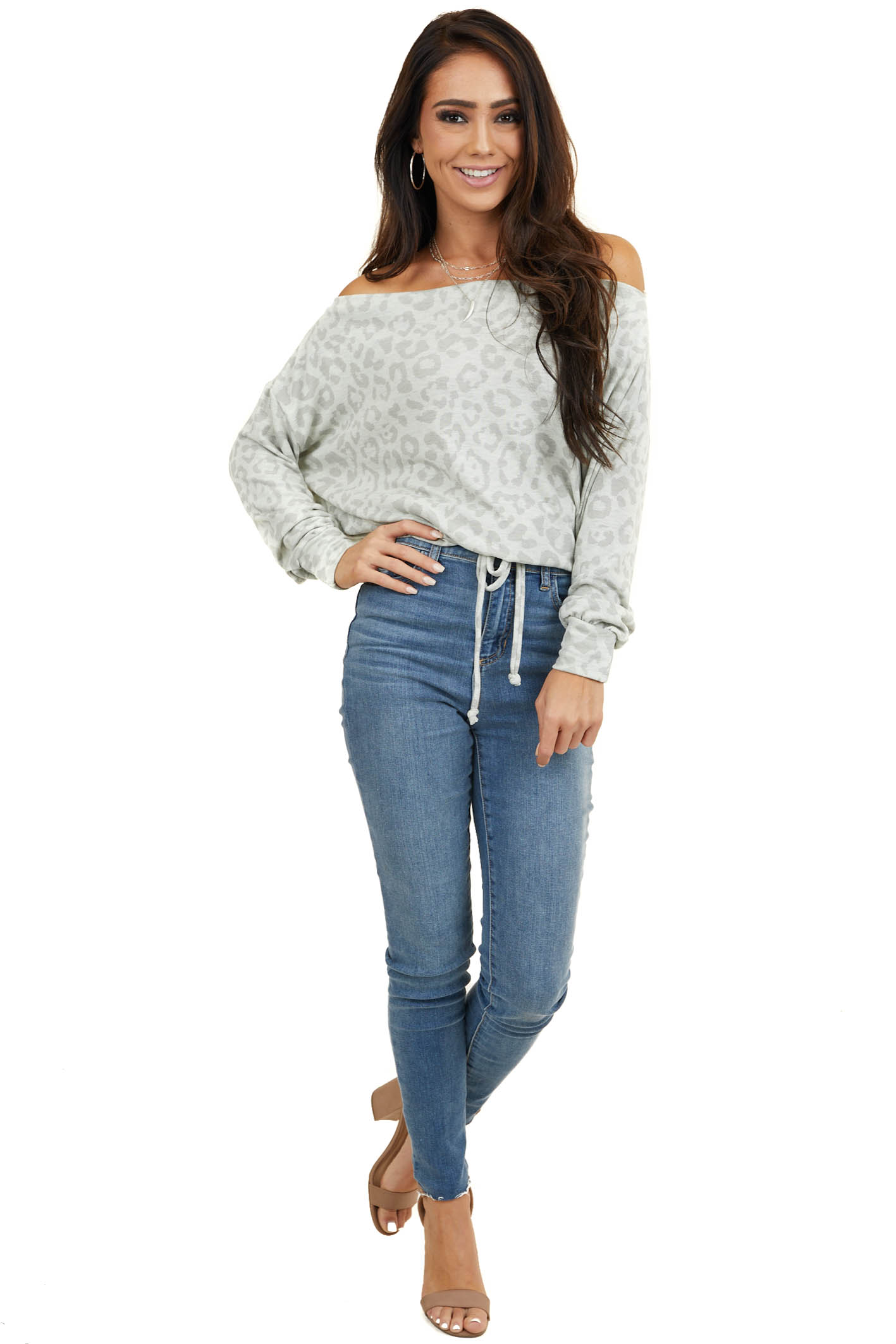 Seafoam Leopard Off Shoulder Knit Top with Drawstring Hem