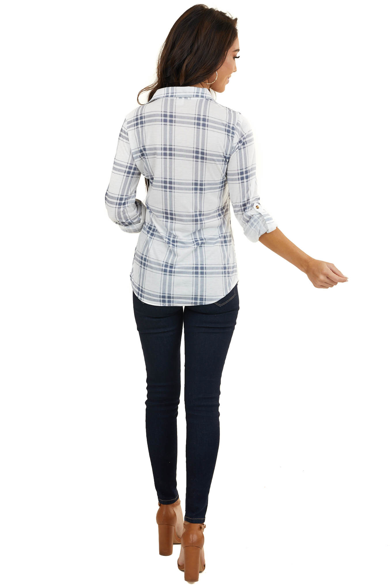 Ivory and Slate Plaid Button Up Top with Chest Pockets