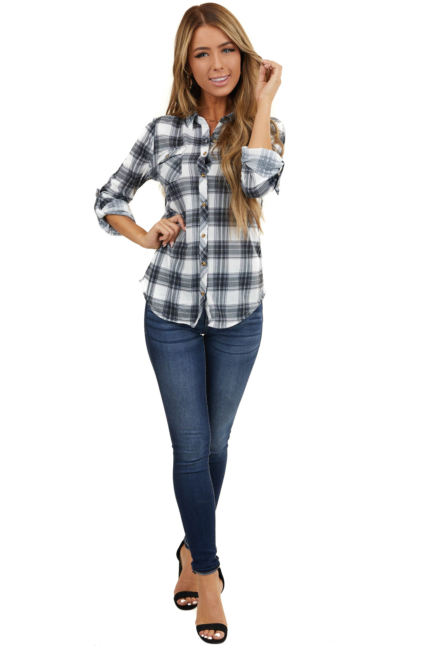 Black and Ivory Plaid Button Up Top with Chest Pockets