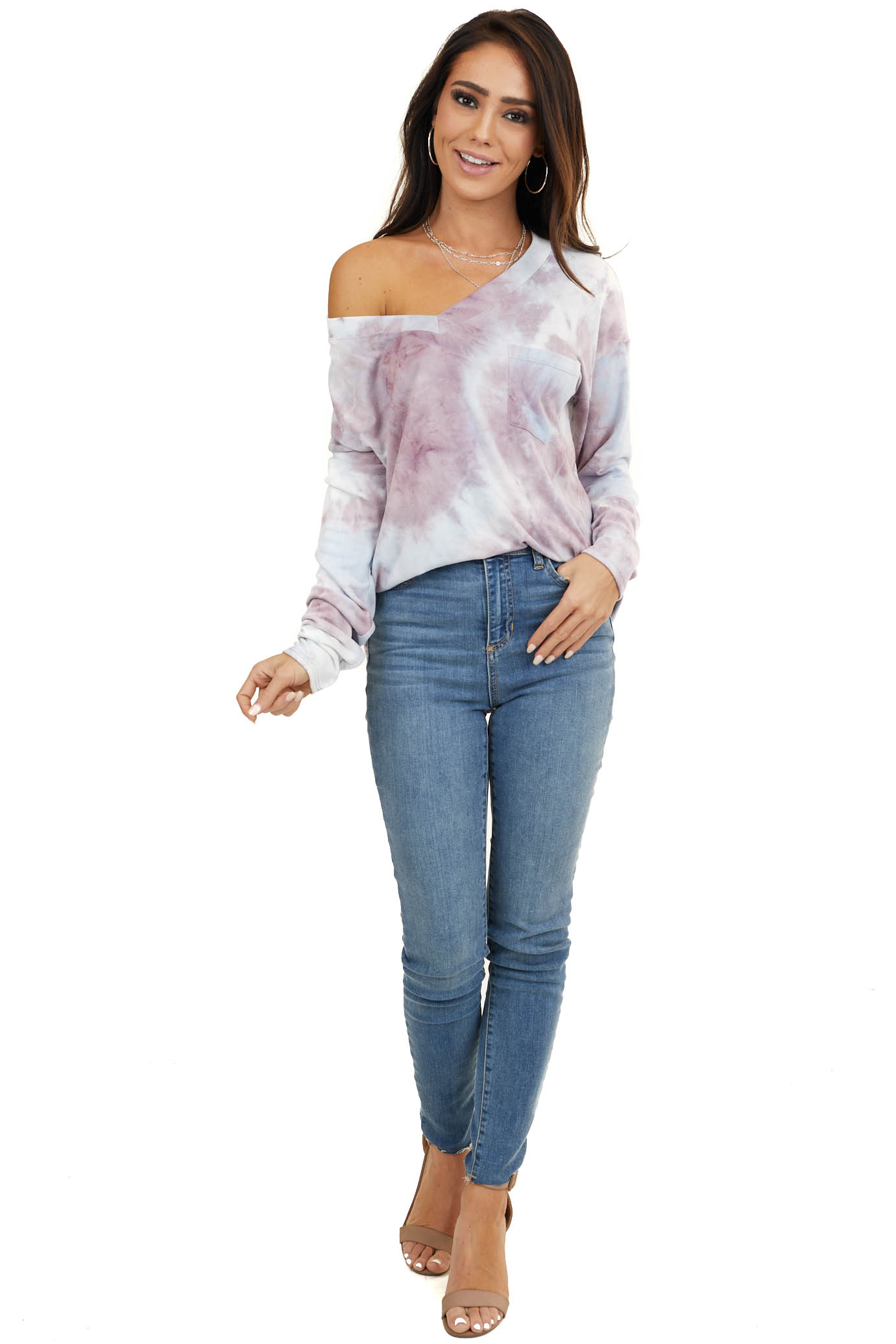 Lilac and Baby Blue Tie Dye Long Sleeve with Front Pocket