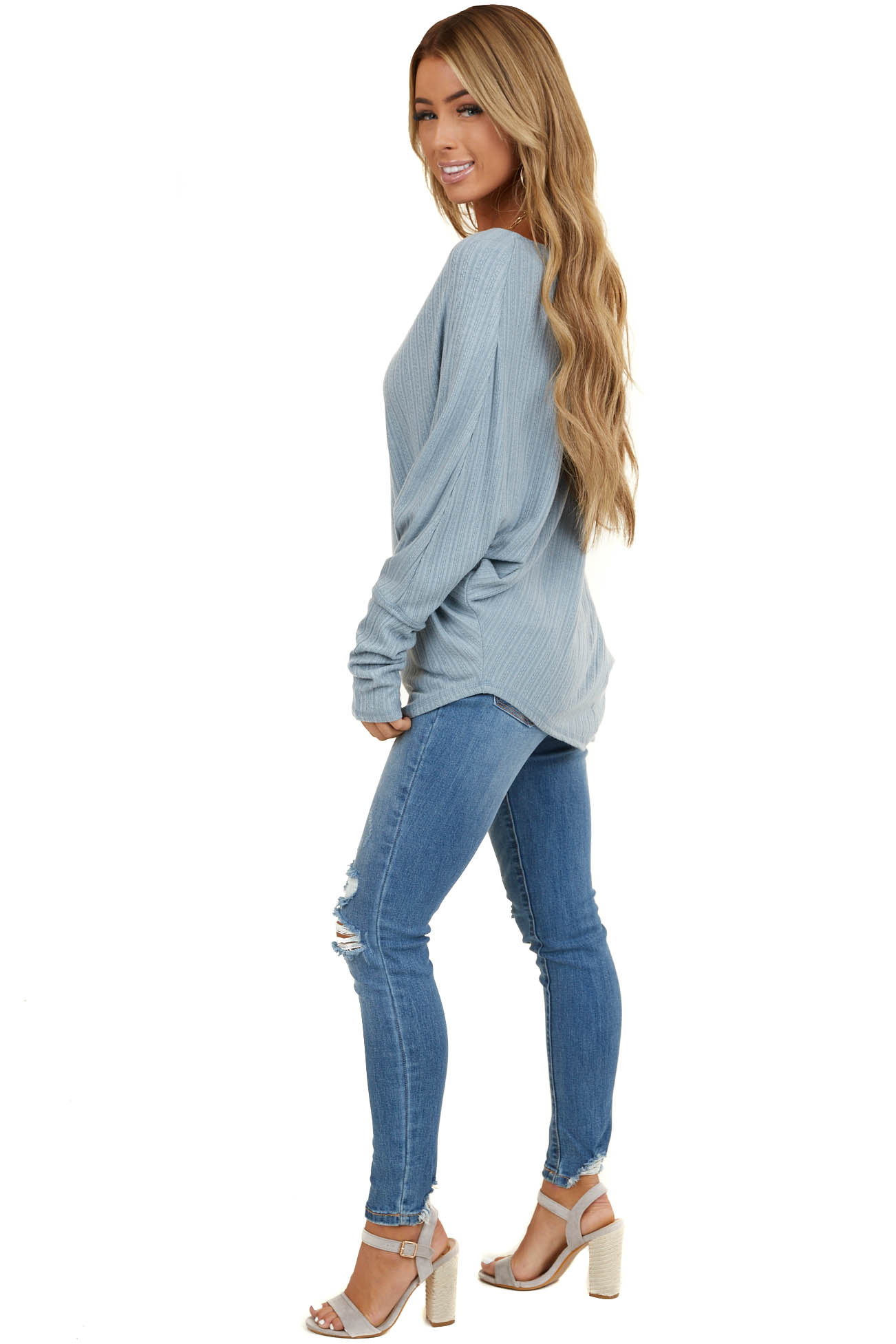 Powder Blue Off The Shoulder Long Sleeve Asymmetrical Top