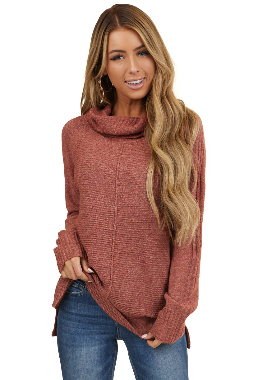 Heathered Marsala Cowl Neck Knit Sweater with Texture Detail