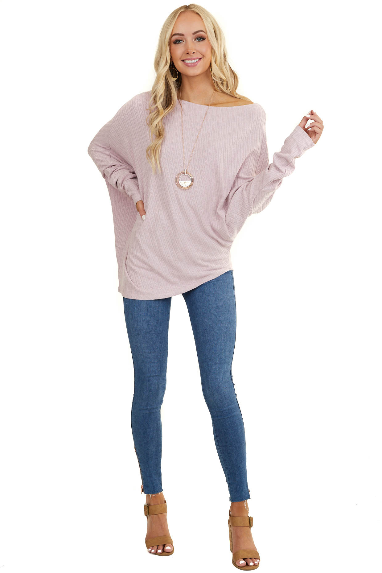 Dusty Blush Off The Shoulder Long Sleeve Asymmetrical Top