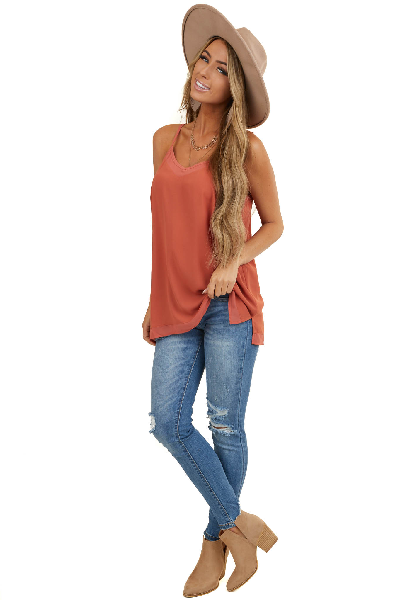 Terracotta V Neck Cami with Adjustable Straps