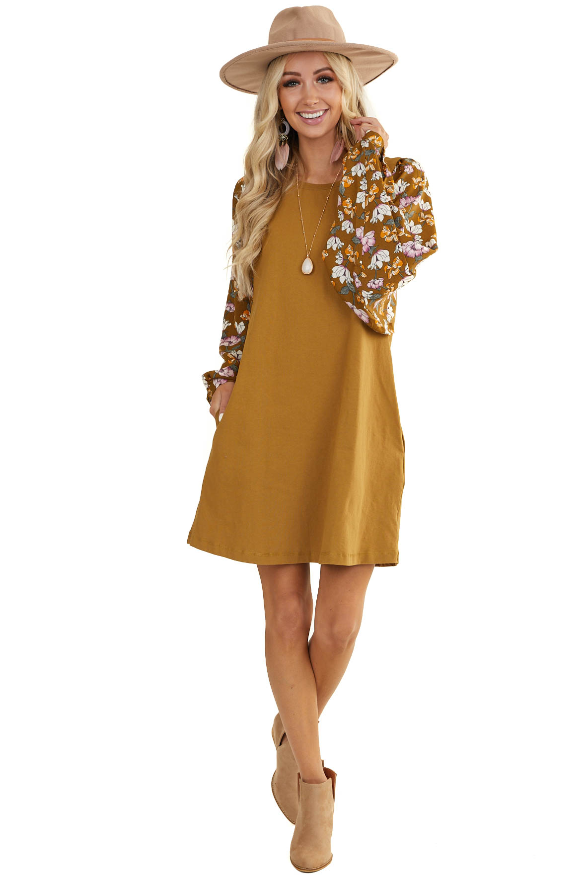 Mustard Dress with Long Floral Print Dolman Sleeves