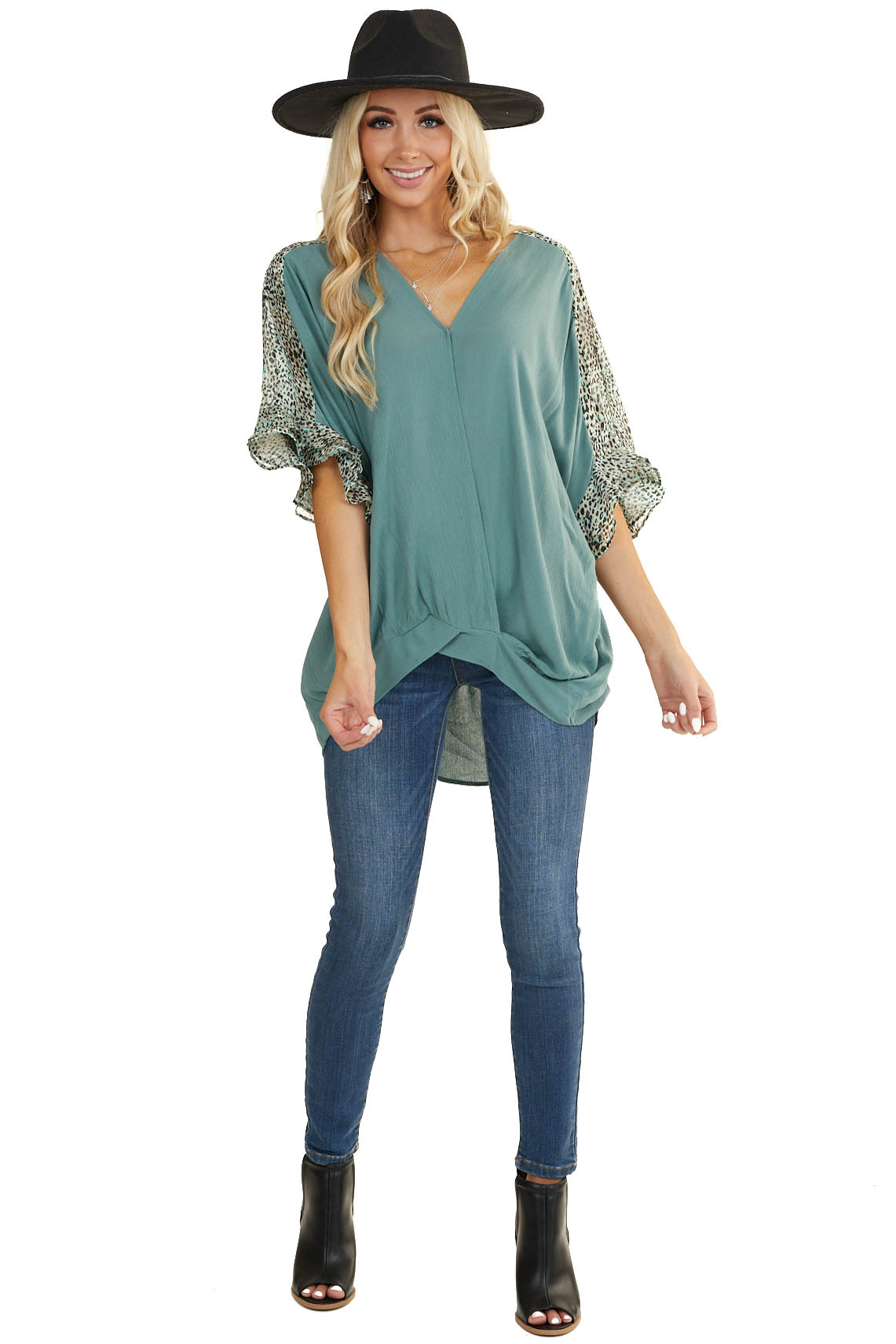 Sage V Neck Surplice Top with Leopard Print Contrast Details v