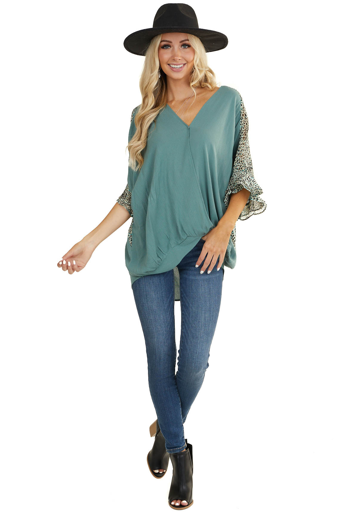 Sage V Neck Surplice Top with Leopard Print Contrast Details