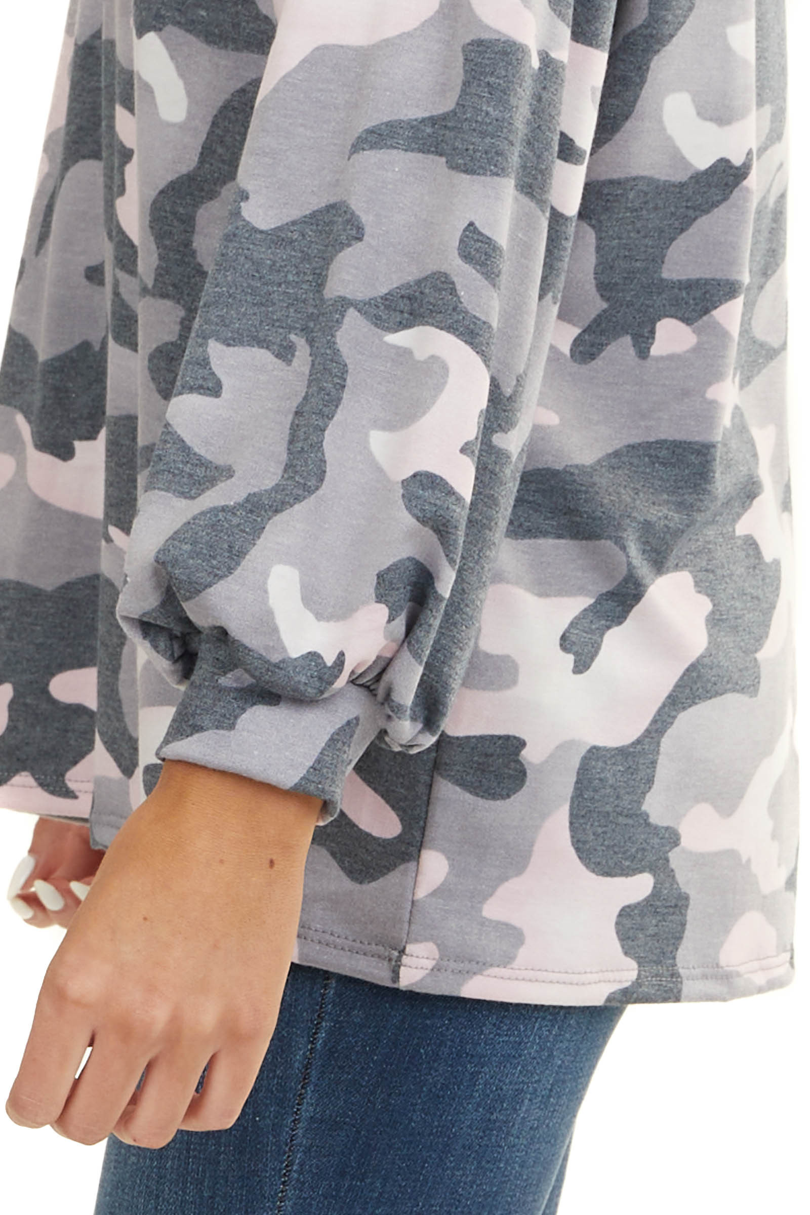 Grey and Pink Camo Long Sleeve Top with Exposed Stitching