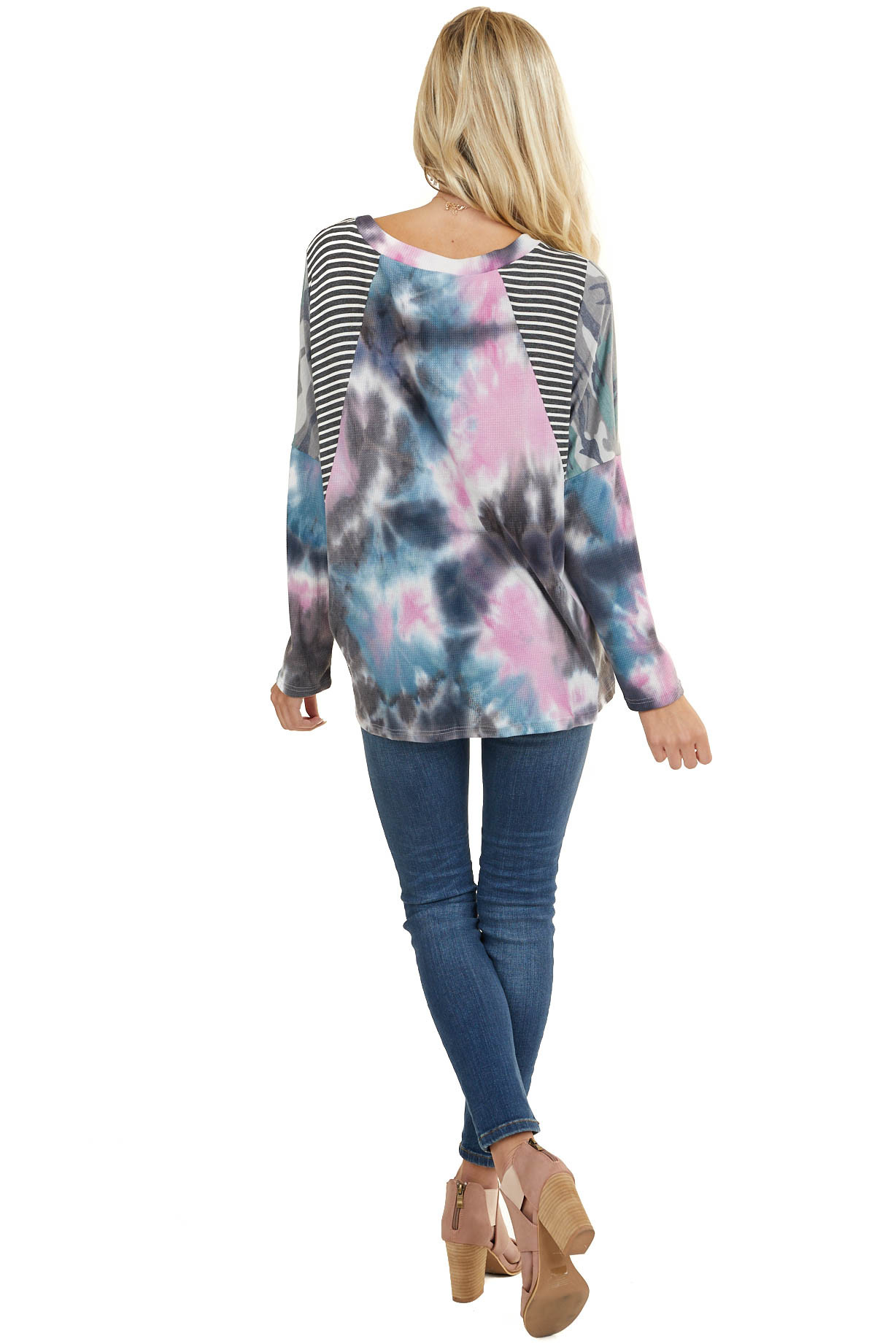 Charcoal Multicolor Tie Dye Top with Multiprint Contrast