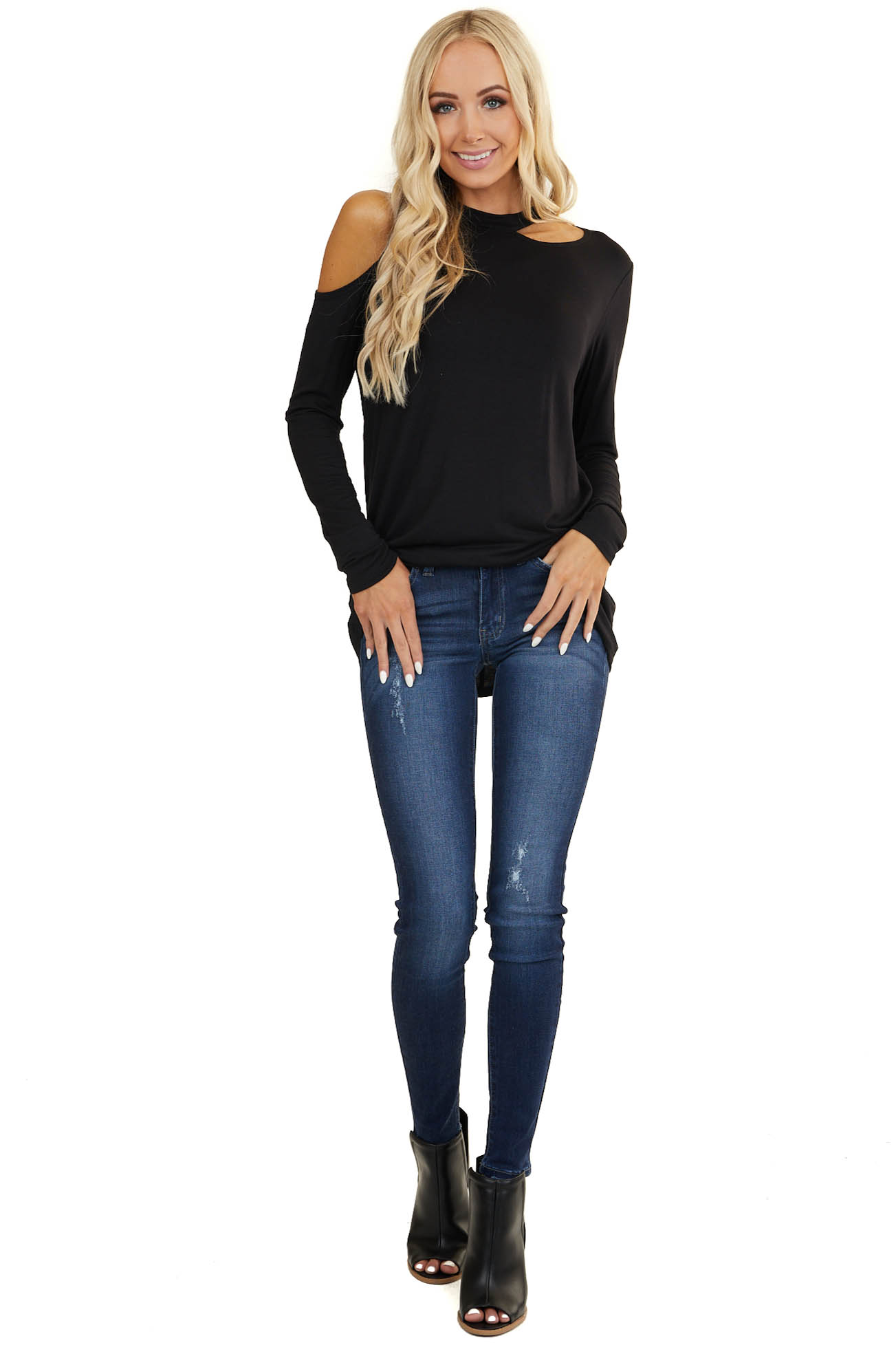 Black Cold Shoulder Long Sleeve Knit Top with Cutout Detail