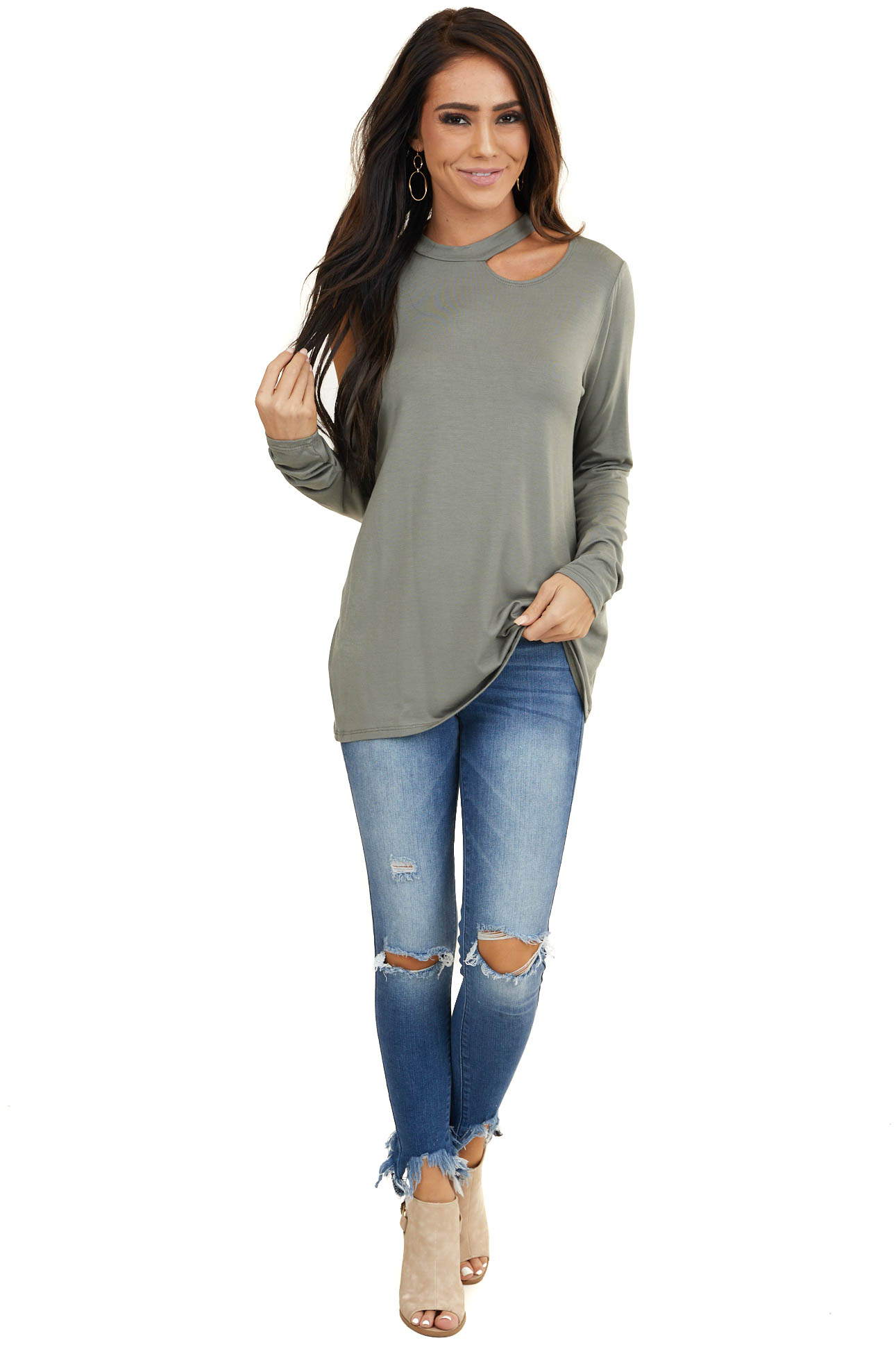 Sage Cold Shoulder Long Sleeve Knit Top with Cutout Detail