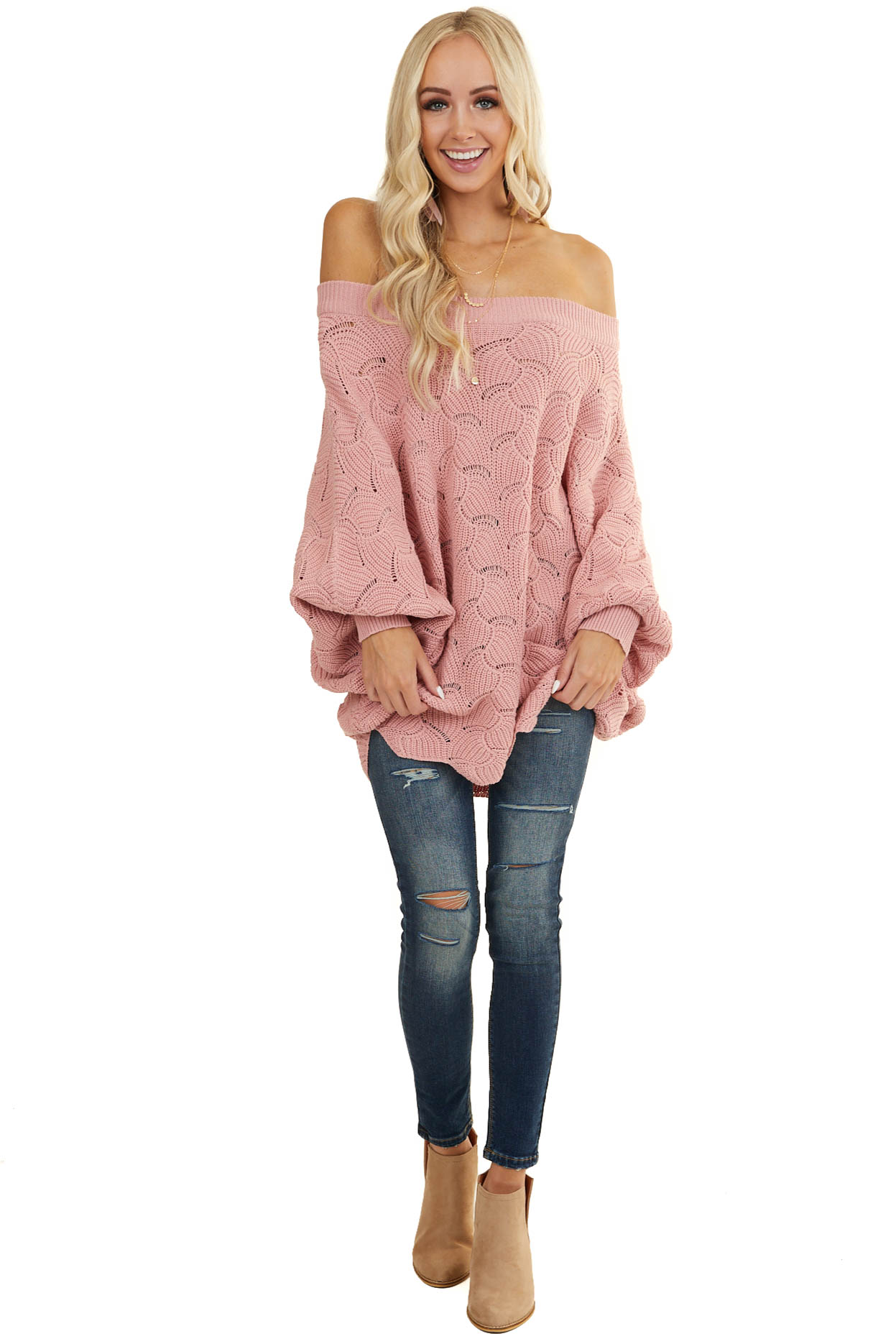 Dusty Blush Oversized Knit Sweater with Dolman Sleeves