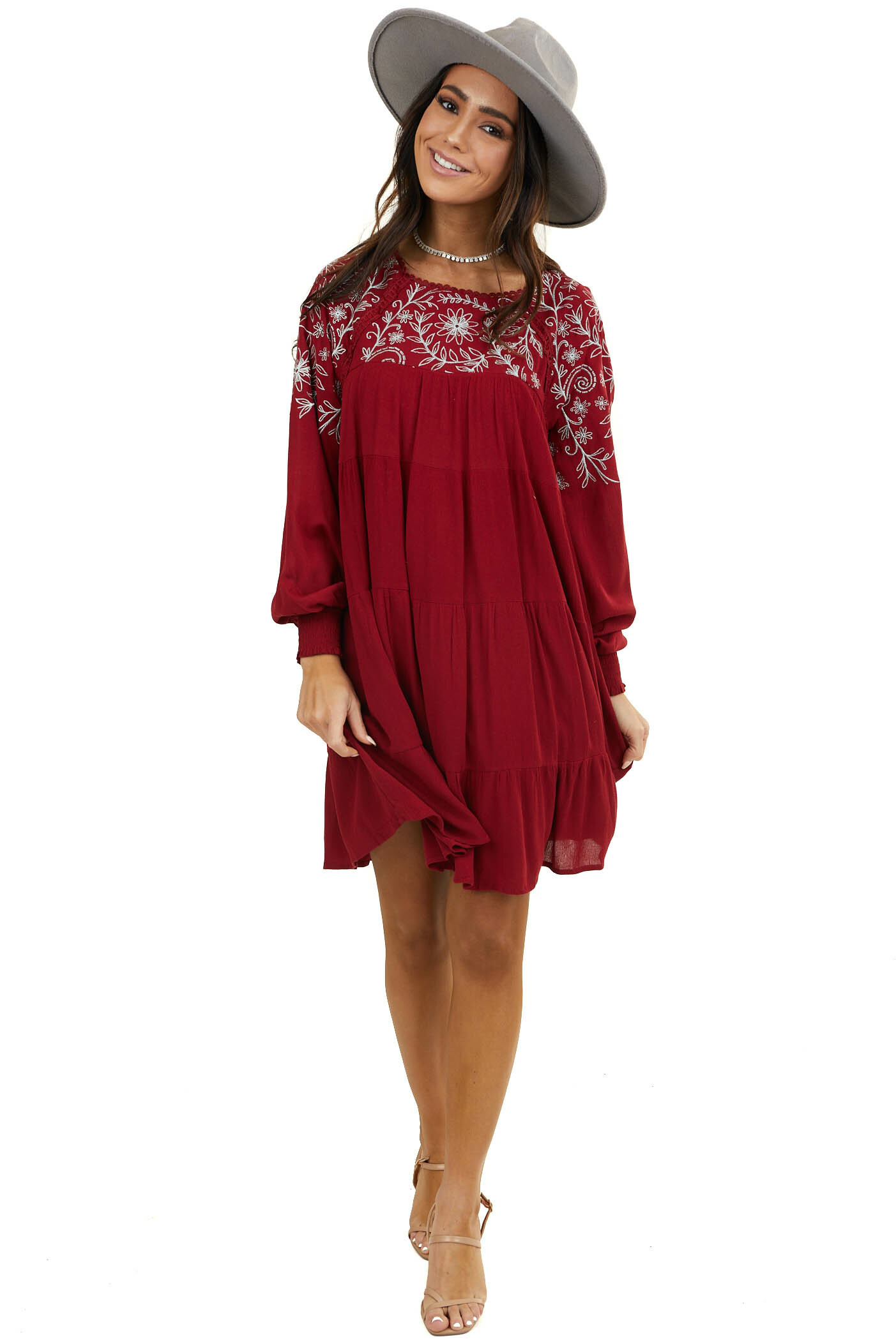 Wine Keyhole Back Long Sleeve Dress with Silver Embroidery