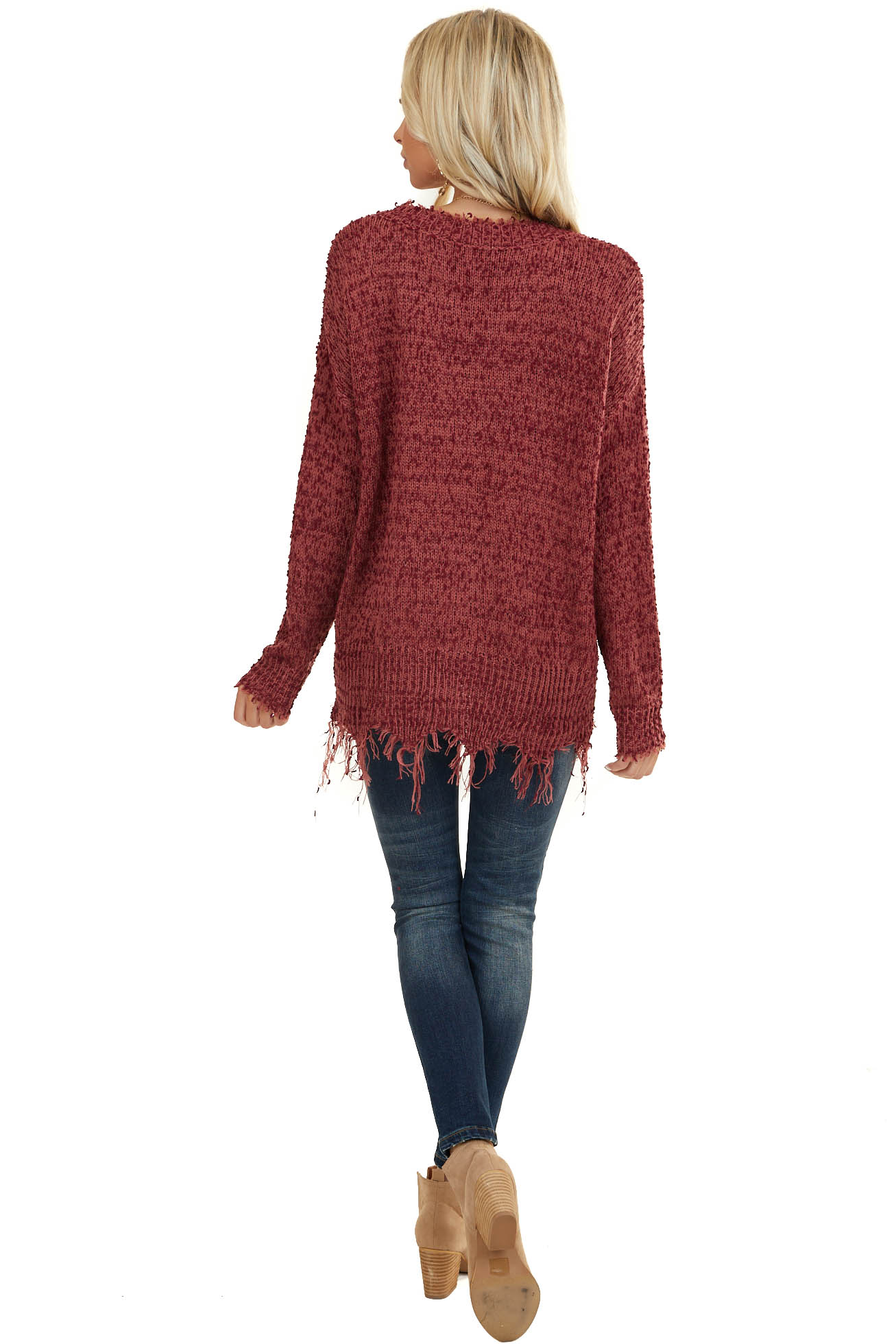Plum V Neck Sweater with Frayed and Distressed Details