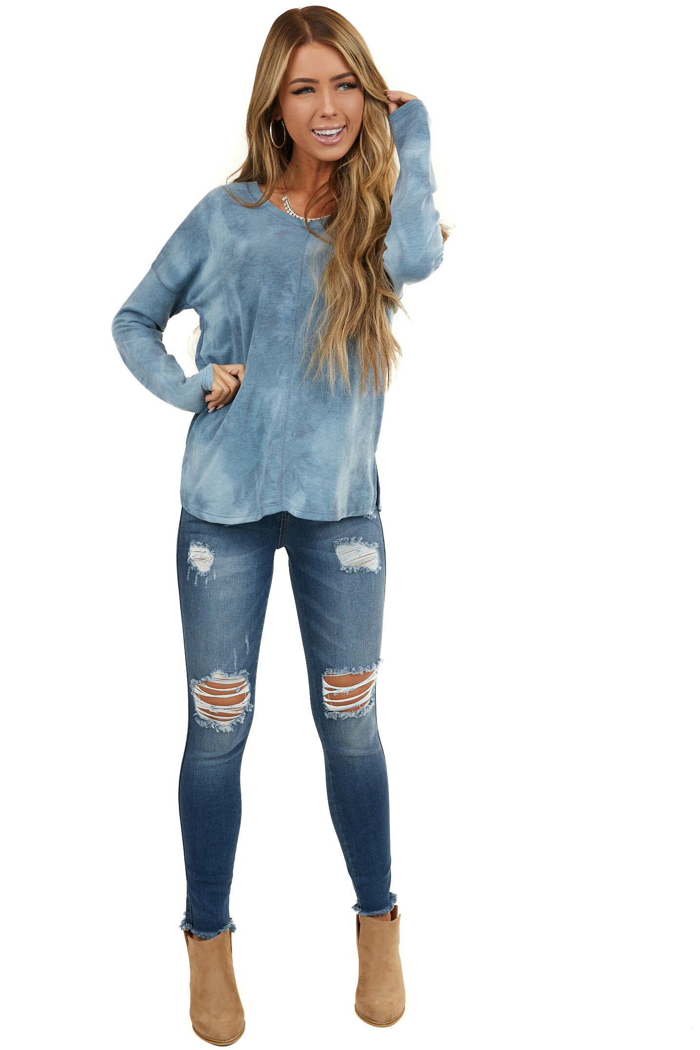 Dusty Blue Tie Dye Long Sleeve Top with Exposed Stitching