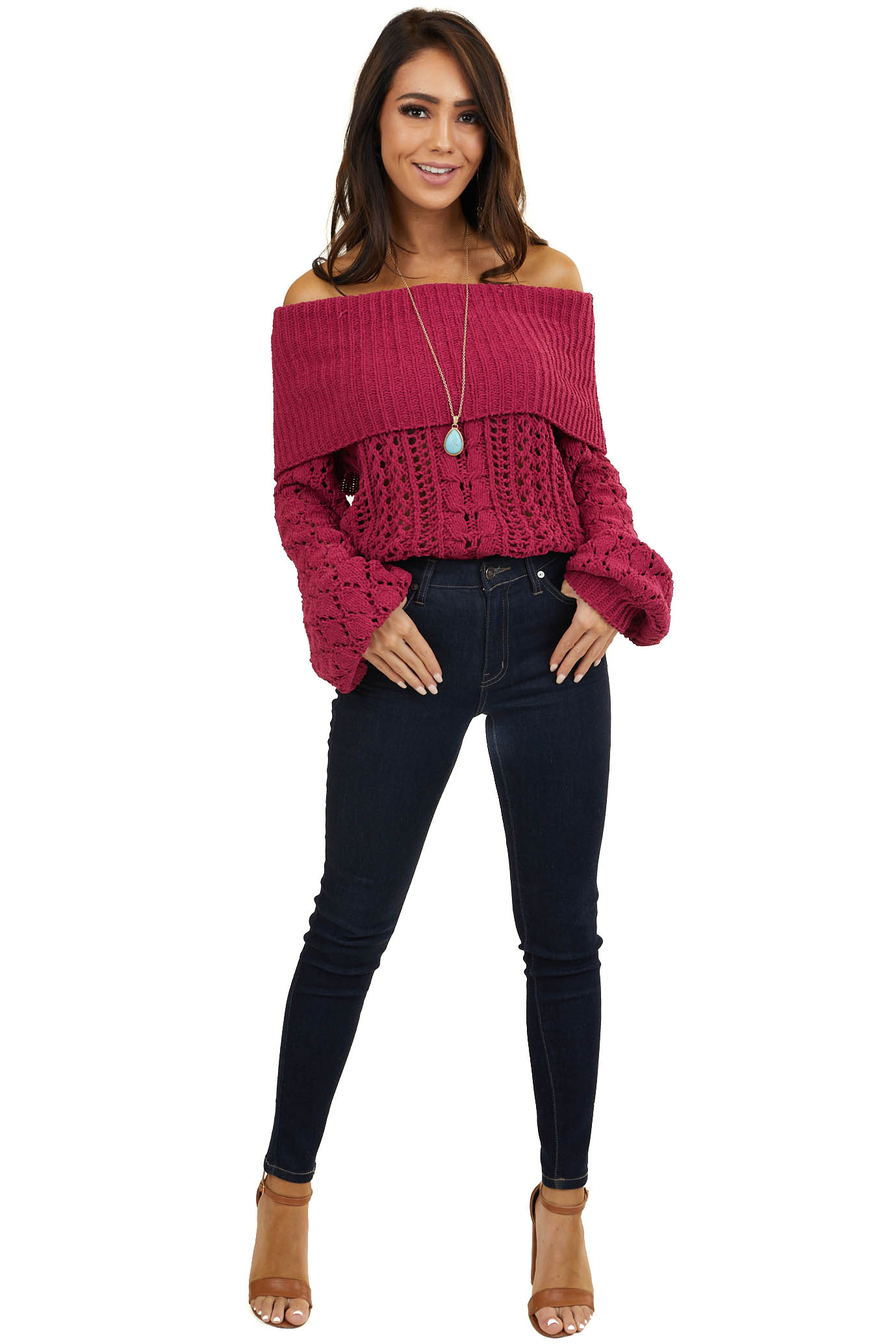 Bright Plum Off Shoulder Loose Knit Chenille Sweater