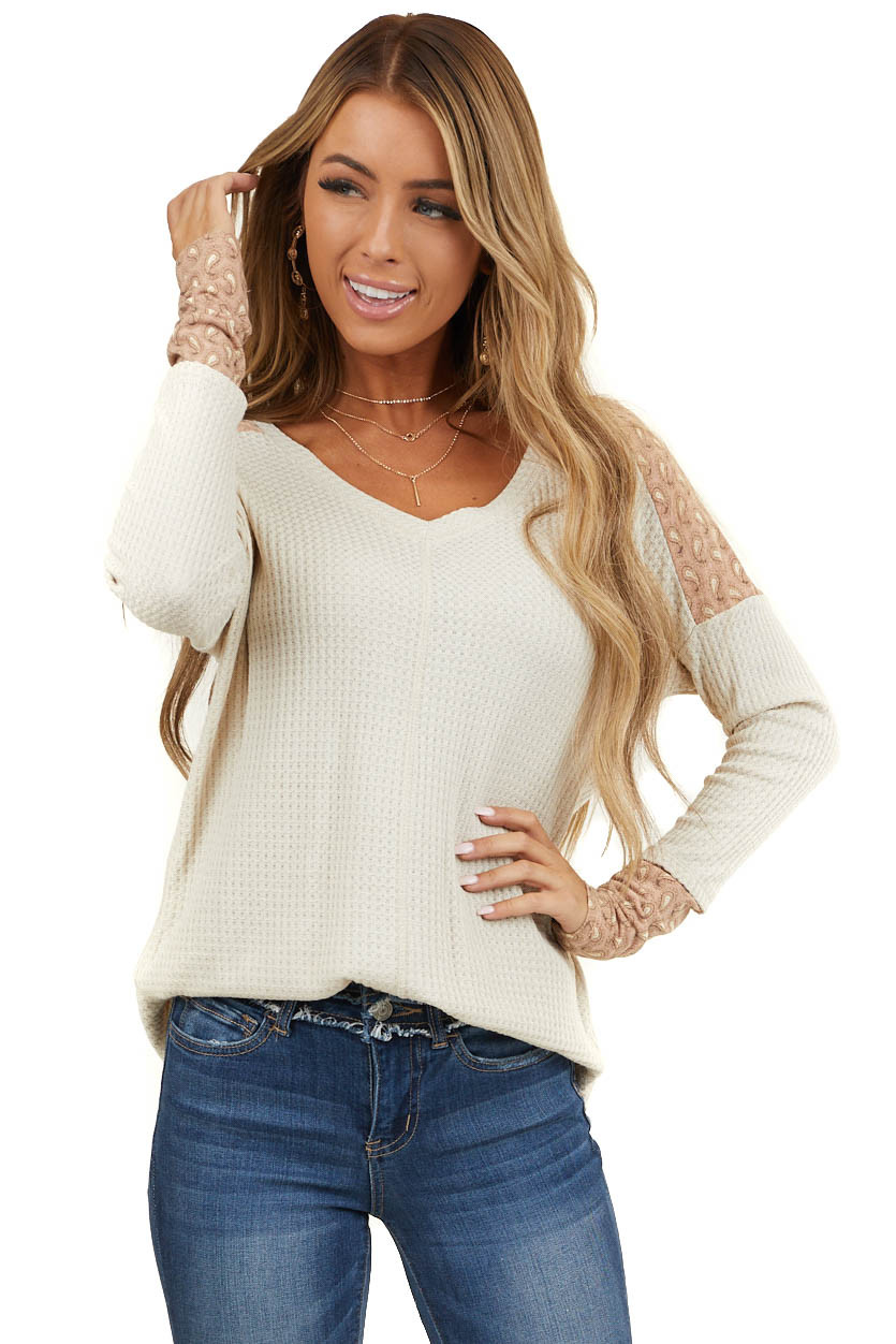 Cream Waffle Knit Top with Apricot Paisley Contrast Detail