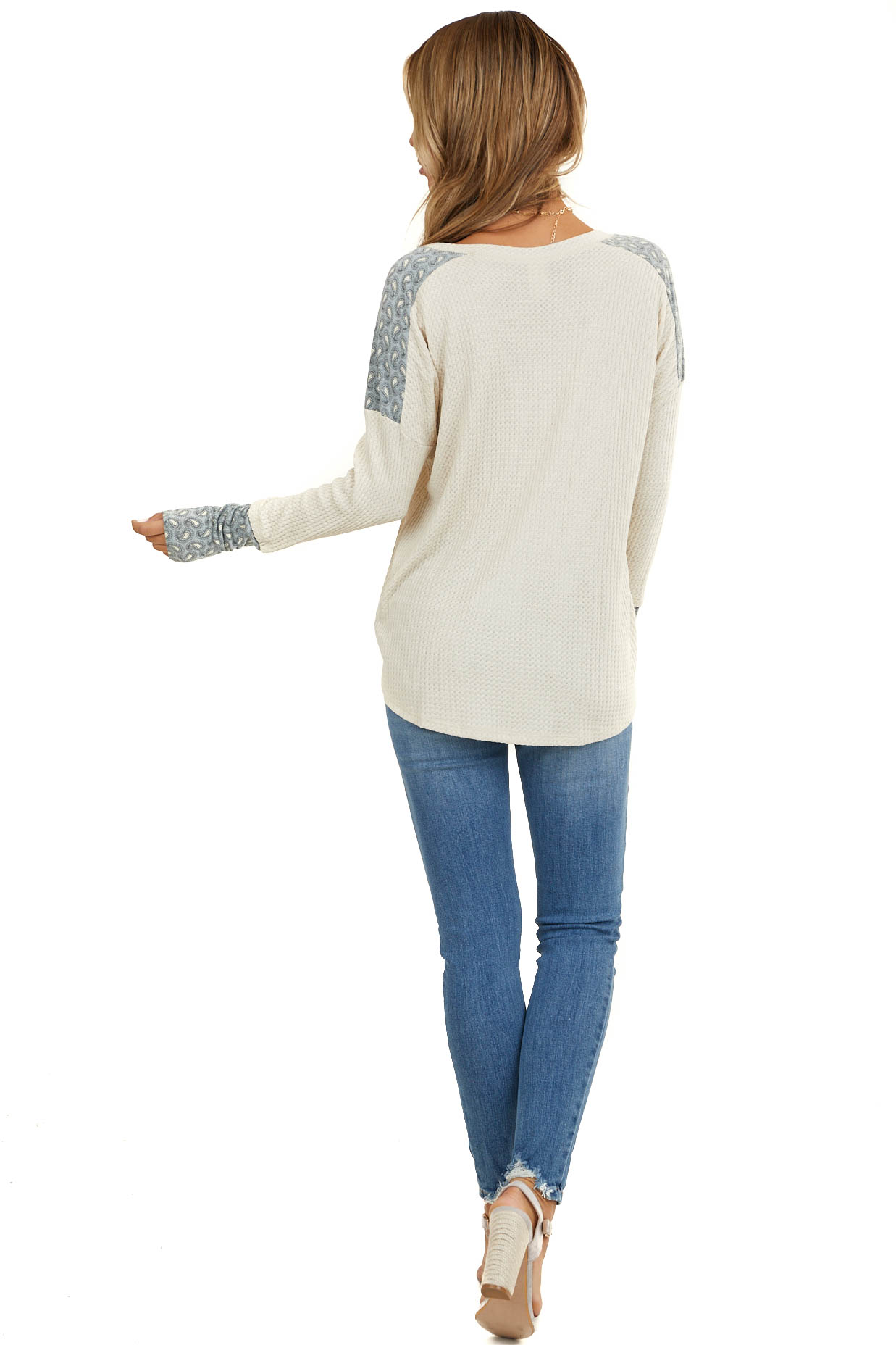 Cream Waffle Knit Top with Blue Paisley Contrast Detail